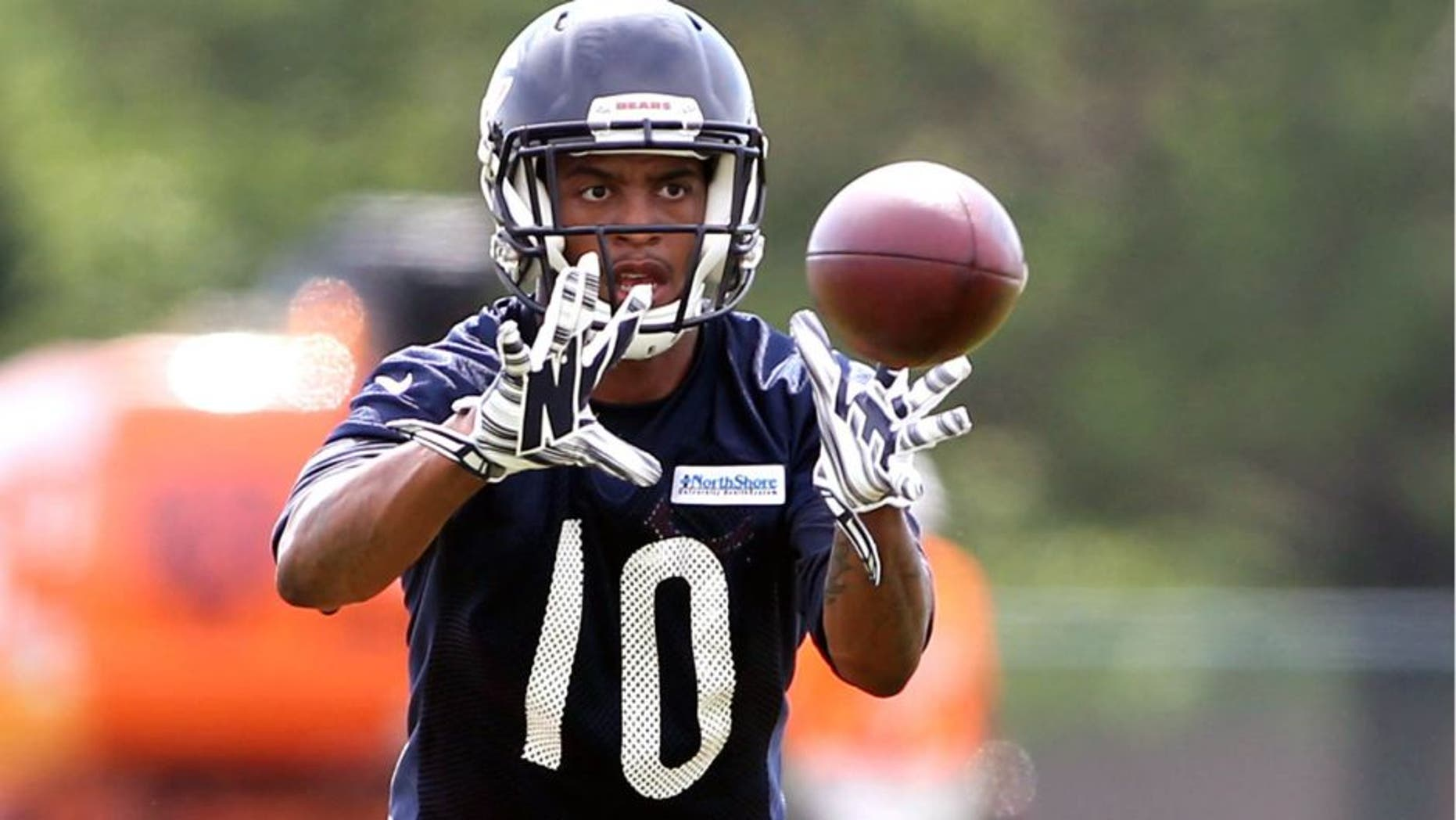 Jul 25, 2014; Chicago, IL, USA; Chicago Bears receiver Marquess Wilson catches a pass during training camp at Olivet Nazarene University. Mandatory Credit: Jerry Lai-USA TODAY Sports