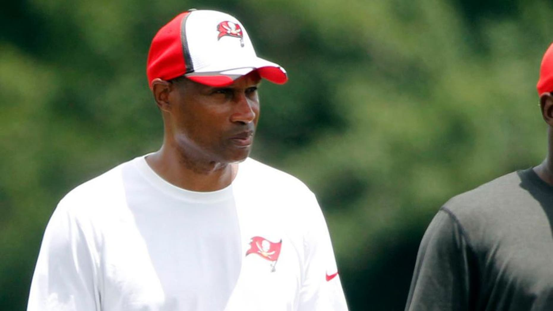 Jul 28, 2014; Tampa, FL, USA; Tampa Bay Buccaneers defensive coordinator Leslie Frazier during training camp at One Buc Place. Mandatory Credit: Kim Klement-USA TODAY Sports