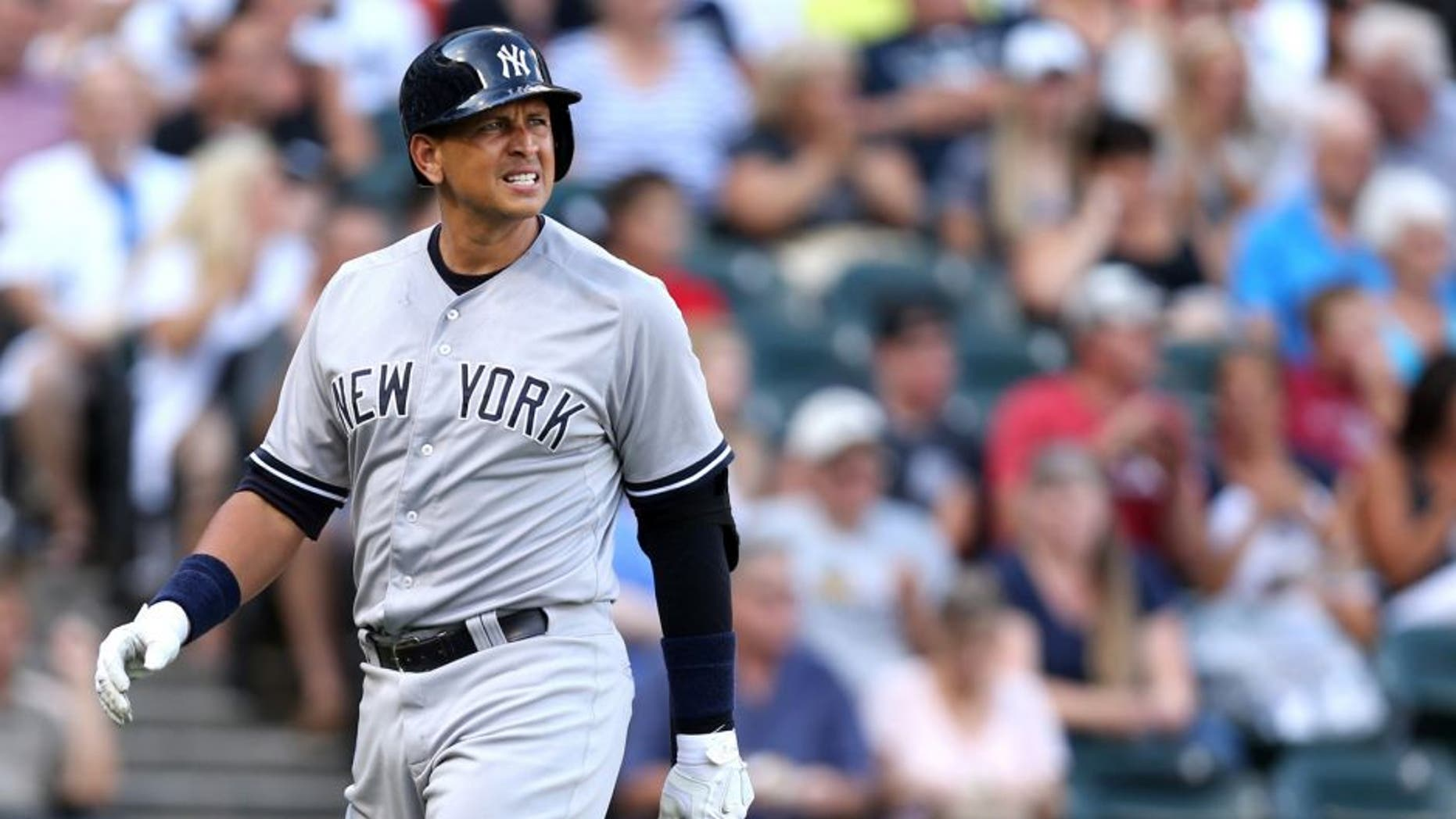 New York Yankees designated hitter Alex Rodriguez walks back to the dugout after striking out to end the first inning against the Chicago White Sox at U.S. Cellular Field in Chicago on Saturday, Aug. 1, 2015. (Chris Sweda/Chicago Tribune/TNS via Getty Images)