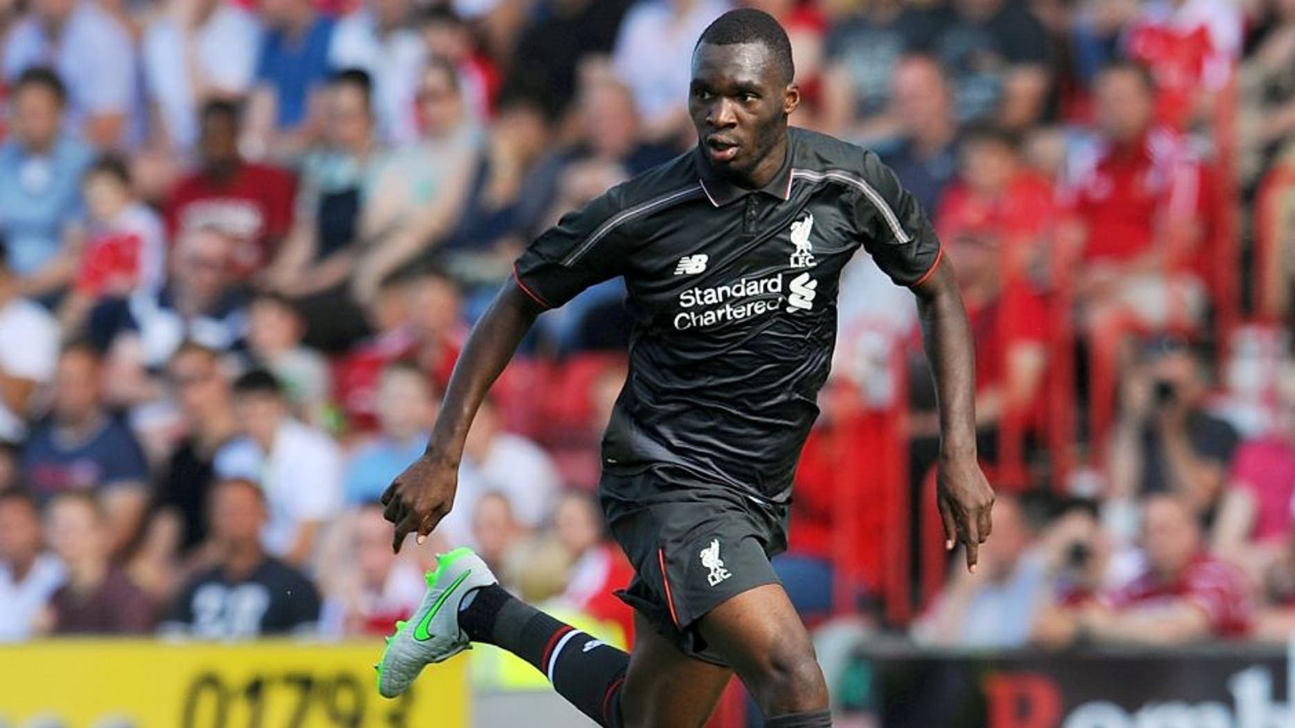SWINDON, ENGLAND - AUGUST 02: (THE SUN OUT, THE SUN ON SUNDAY OUT) Christian Benteke of Liverpool in action during a preseason friendly at County Ground on August 2, 2015 in Swindon, England. (Photo by Andrew Powell/Liverpool FC via Getty Images)