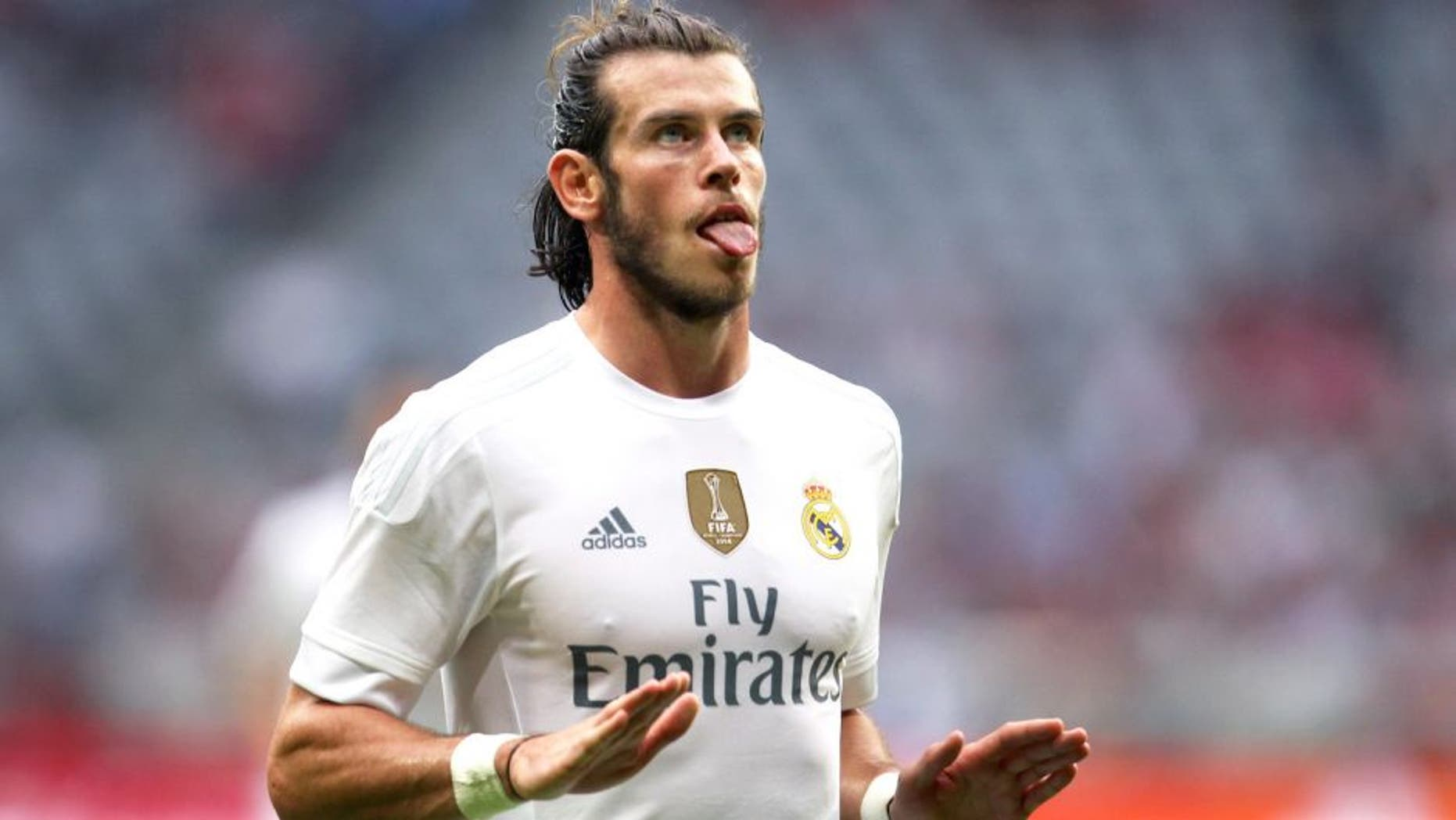 MUNICH, GERMANY - AUGUST 04: Gareth Bale of Real Madrid celebrates his goal during the semi-final match of the Audi Cup 2015 at Allianz Arena on August 4, 2015 in Munich, Germany. (Photo by Alexandra Beier/Bongarts/Getty Images)