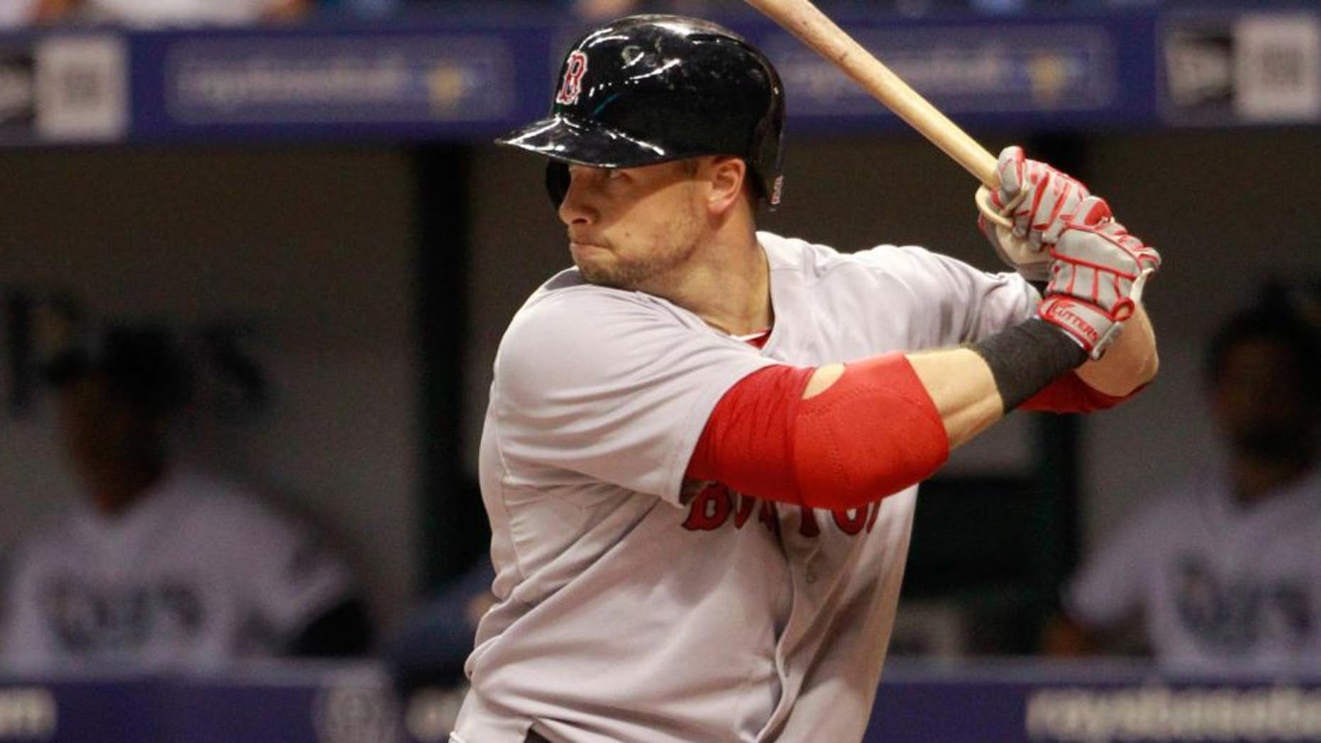 Apr 21, 2015; St. Petersburg, FL, USA; Boston Red Sox right fielder Daniel Nava (29) at bat against the Tampa Bay Rays at Tropicana Field. Mandatory Credit: Kim Klement-USA TODAY Sports