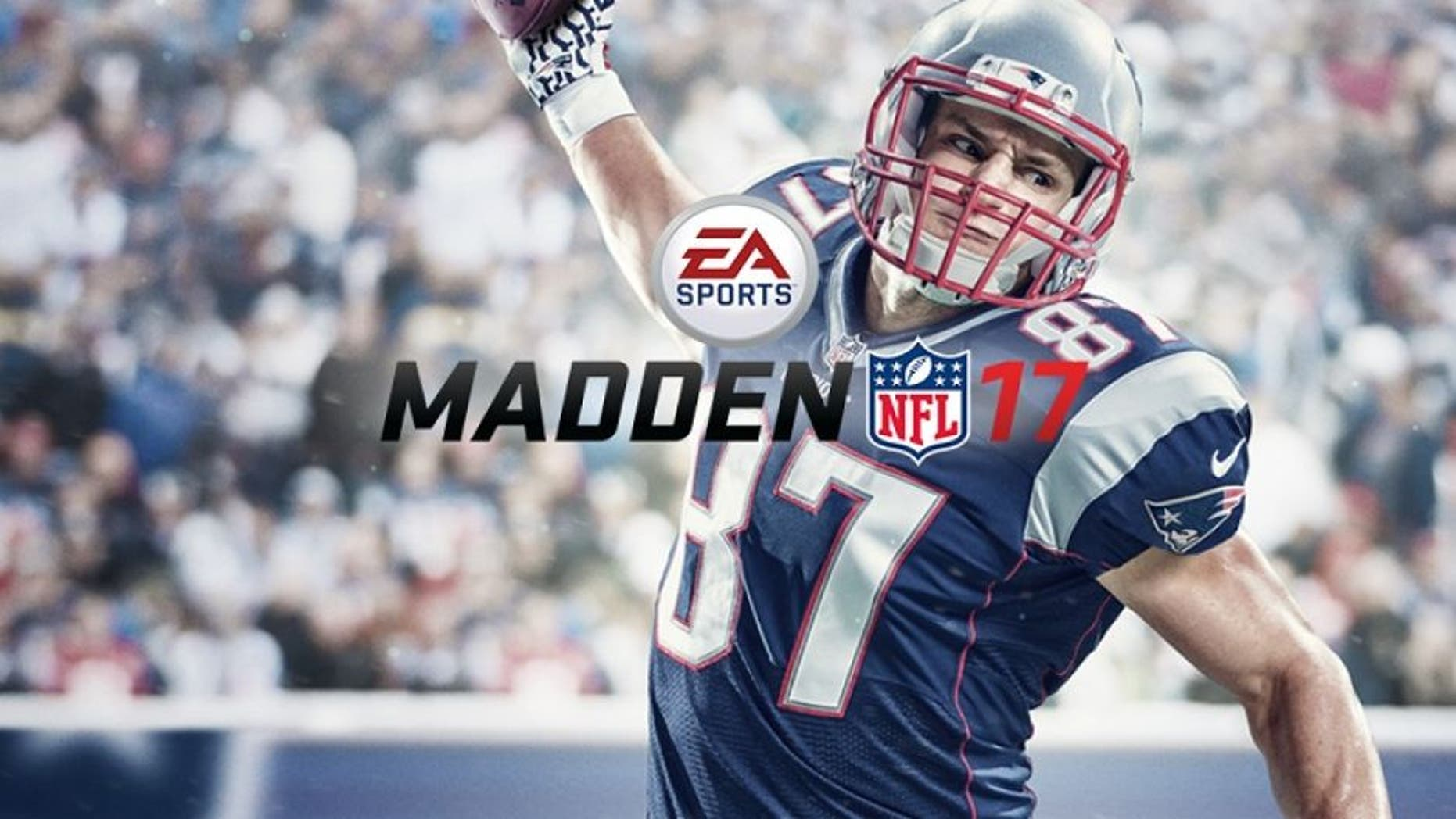 File photo: Patriots TE Rob Gronkowski appears on the cover of Madden NFL 17. A simulation of this year's game, Madden 19, has the Rams edging the Patriots in a close matchup. (Credit: EA)