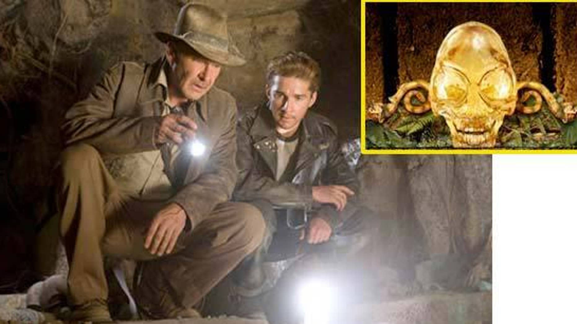 """Harrison Ford and Shia LaBeouf in a scene from """"Indiana Jones and the Kingdom of the Crystal Skull,"""" out May 22. Also an illustration of the crystal skull."""