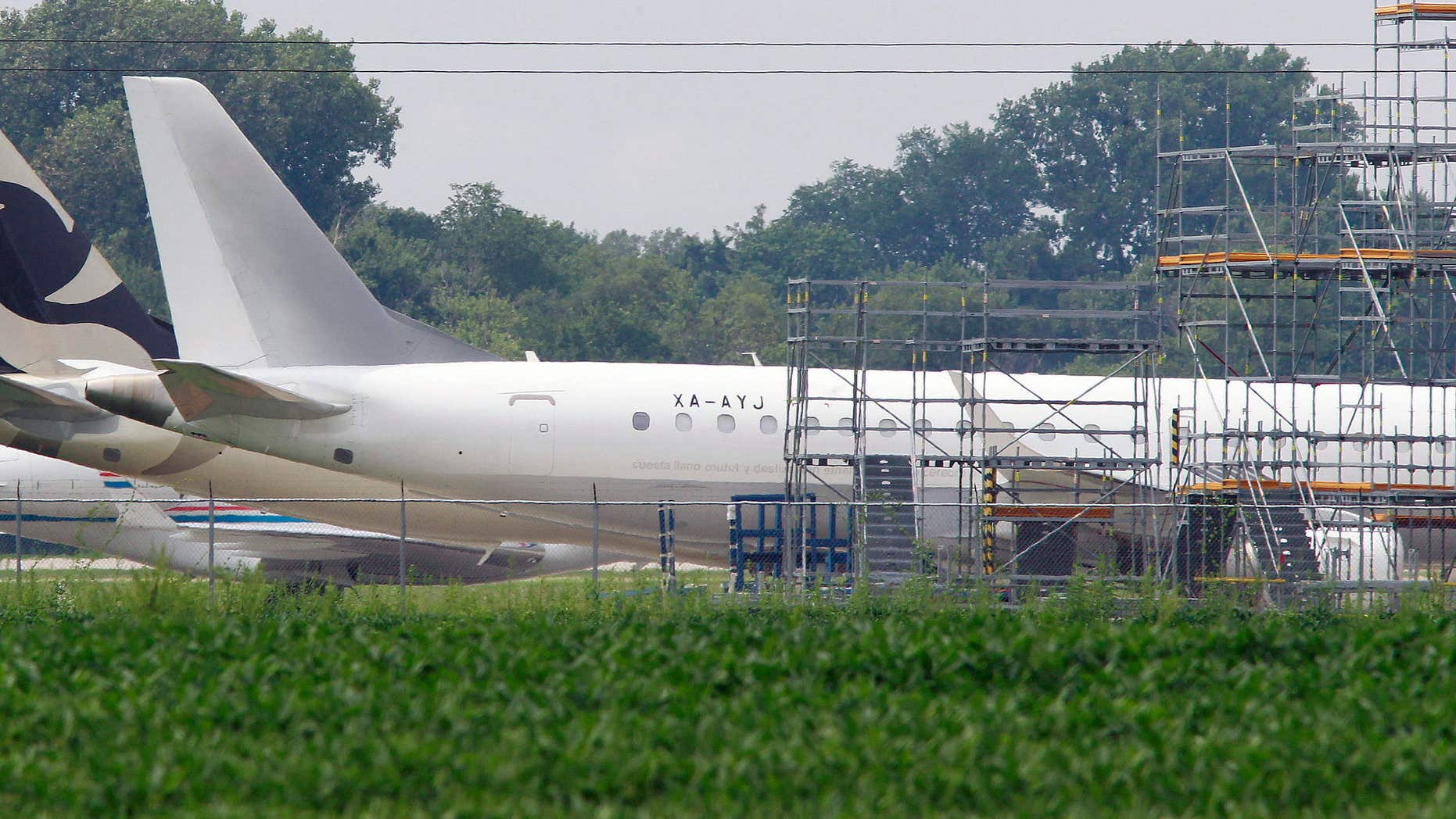 Aug. 5, 2015: Jets are shown parked at St. Louis Downtown Airport in Sauget, Ill.