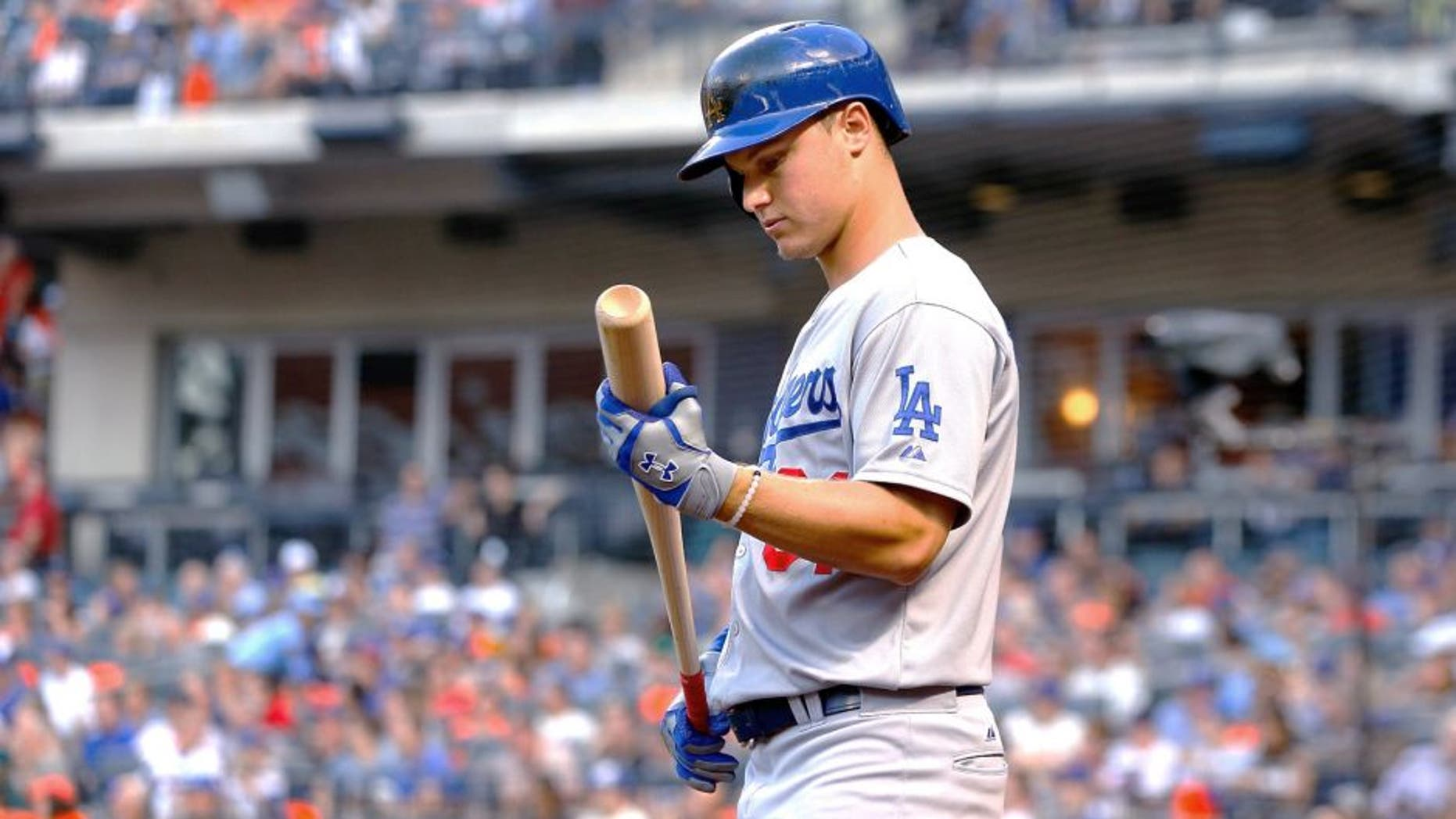 NEW YORK, NY - JULY 24: (NEW YORK DAILIES OUT) Joc Pederson #31 of the Los Angeles Dodgers in action against the New York Mets at Citi Field on July 24, 2015 in the Flushing neighborhood of the Queens borough of New York City. The Dodgers defeated the Mets 7-2. (Photo by Jim McIsaac/Getty Images)