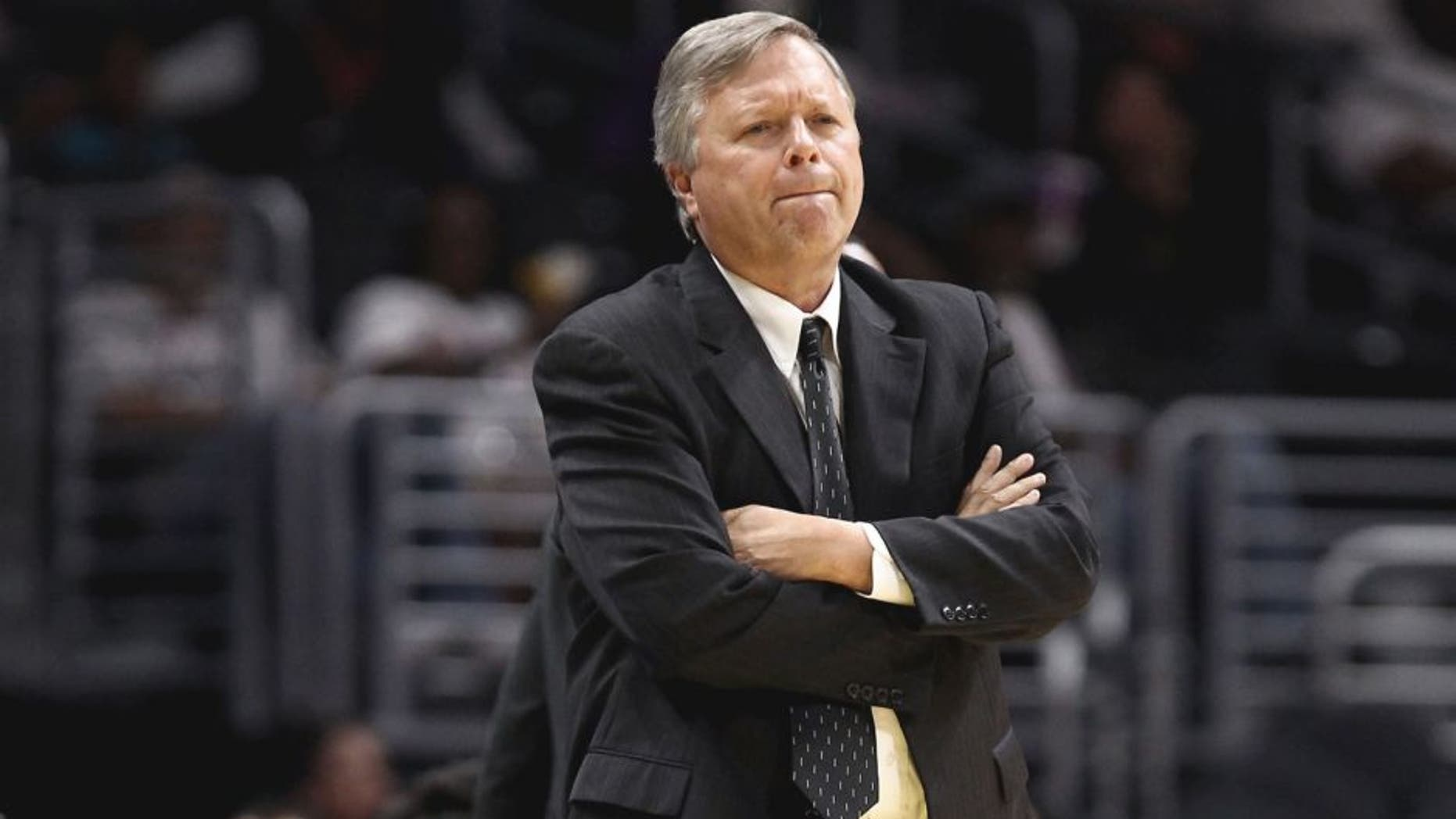 LOS ANGELES, CA - JULY 02: Head Coach Dan Hughes of the San Antonio Stars looks on while his team takes on the Los Angeles Sparks in a WNBA game at Staples Center on July 2, 2015 in Los Angeles, California. (Photo by Leon Bennett/Getty Images)