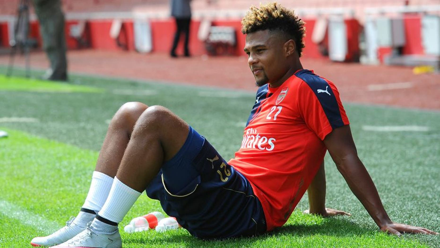 LONDON, ENGLAND - JULY 28: Serge Gnabry of Arsenal during a training session at Emirates Stadium on July 28, 2015 in London, England. (Photo by Stuart MacFarlane/Arsenal FC via Getty Images)