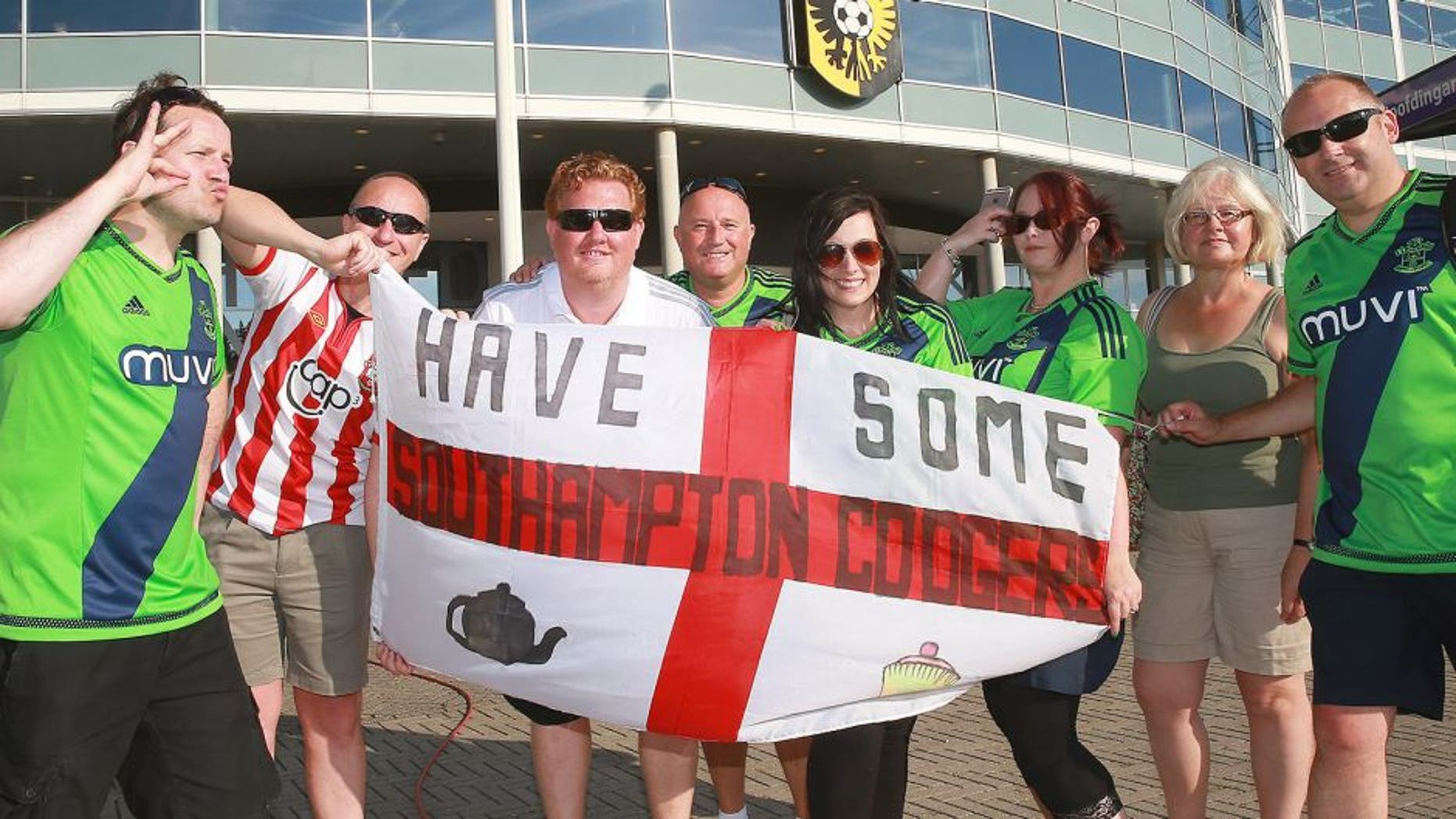 fans of Southampton during the Europa league third qualifying round match between Vitesse and Southampton FC on August 6, 2015 at the Gelredome stadium in Arnhem, The Netherlands.(Photo by VI Images via Getty Images)