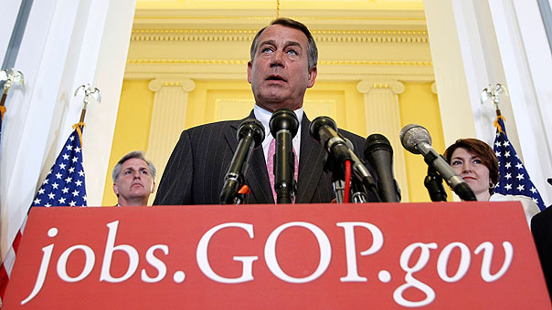 In this June 14, 2011, file photo House Speaker John Boehner with Majority Whip Kevin McCarthy, R-Calif., left, and Rep. Cathy McMorris Rodgers, R-Wash., talks about job creation following a political strategy session on Capitol Hill in Washington.