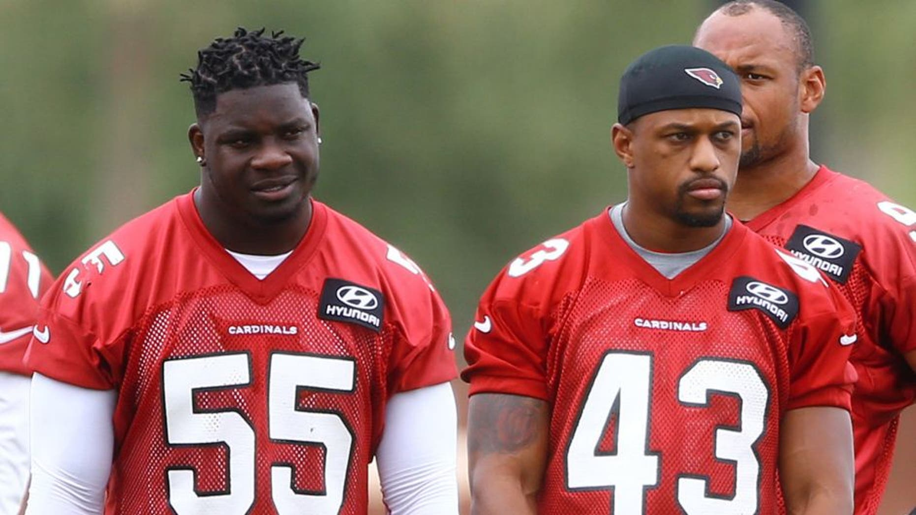 Jun 9, 2015; Tempe, AZ, USA; Arizona Cardinals linebacker Sean Weatherspoon (55) and safety D.J. Campbell (43) during minicamp practice at the Cardinals Training Facility. Mandatory Credit: Mark J. Rebilas-USA TODAY Sports
