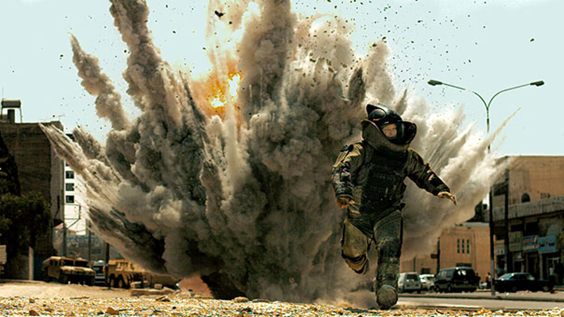 "In this film publicity image released by Summit Entertainment,Jeremy Renner is shown in a scene from, ""The Hurt Locker."""