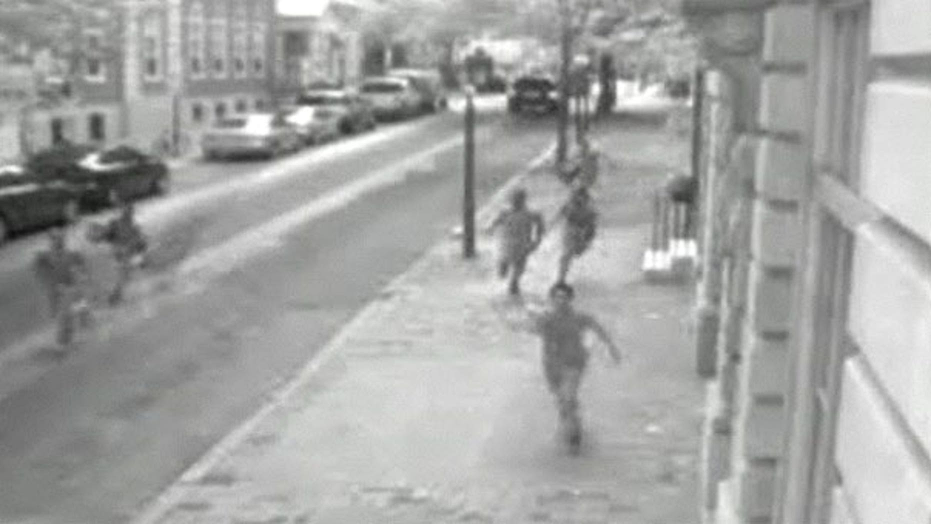 This screengrab shows footage from a 'flash mob' attack on July 29.