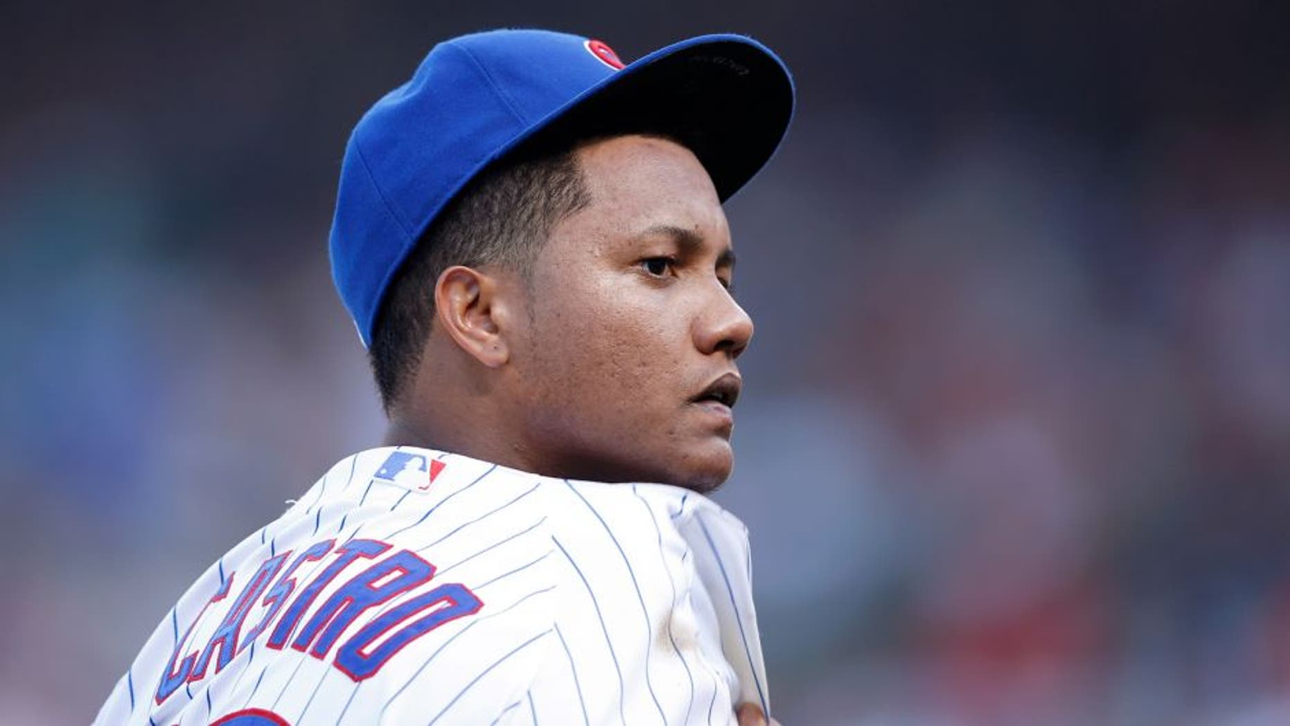 CHICAGO, IL - JULY 25: Starlin Castro #13 of the Chicago Cubs looks on during the game against the Philadelphia Phillies at Wrigley Field on July 25, 2015 in Chicago, Illinois. The Phillies defeated the Cubs 5-0. (Photo by Joe Robbins/Getty Images)