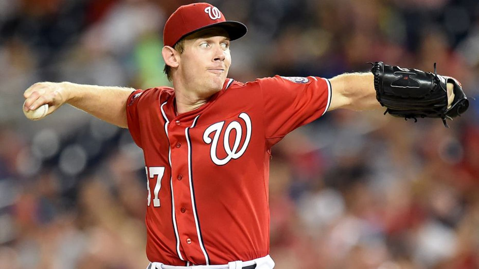 WASHINGTON, DC - AUGUST 08: Stephen Strasburg #37 of the Washington Nationals pitches in the seventh inning during a baseball game against the Colorado Rockies at Nationals Park on August 8, 2015 in Washington, DC. The Nationals won 6-1. (Photo by Mitchell Layton/Getty Images)