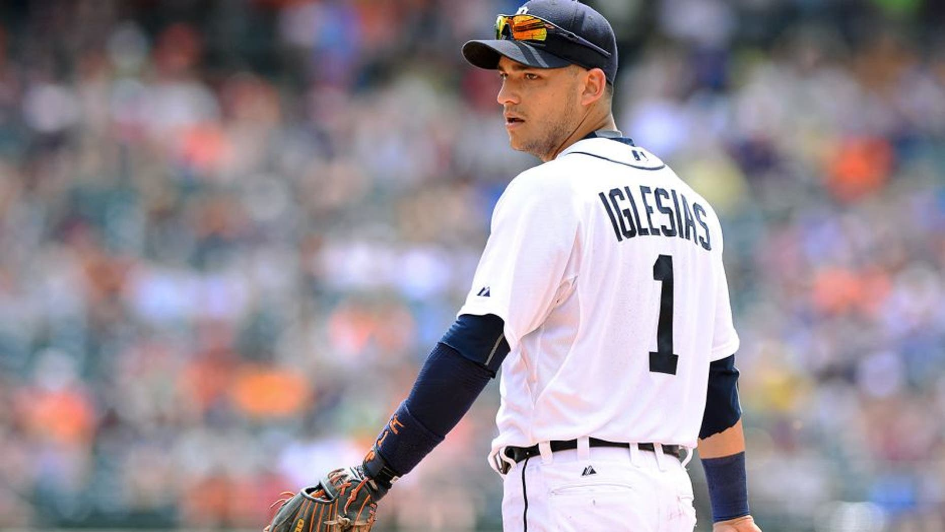 DETROIT, MI - JULY 19: Jose Iglesias #1 of the Detroit Tigers looks on during the game against the Baltimore Orioles at Comerica Park on July 19, 2015 in Detroit, Michigan. The Orioles defeated the Tigers 9-3. (Photo by Mark Cunningham/MLB Photos via Getty Images)