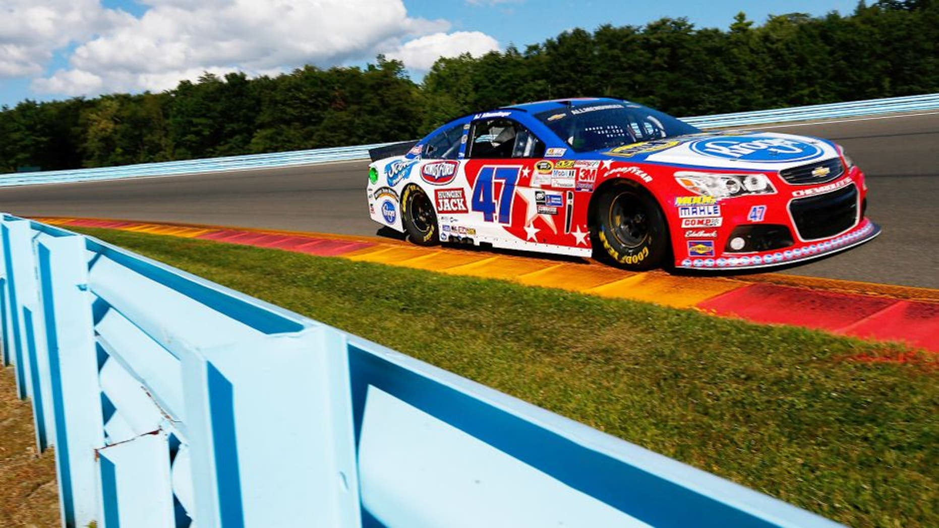 WATKINS GLEN, NY - AUGUST 07: AJ Allmendinger, driver of the #47 Kroger/Bush's Beans Chevrolet, practices for the NASCAR Sprint Cup Series Cheez-It 355 at Watkins Glen International on August 7, 2015 in Watkins Glen, New York. (Photo by Jonathan Ferrey/Getty Images)