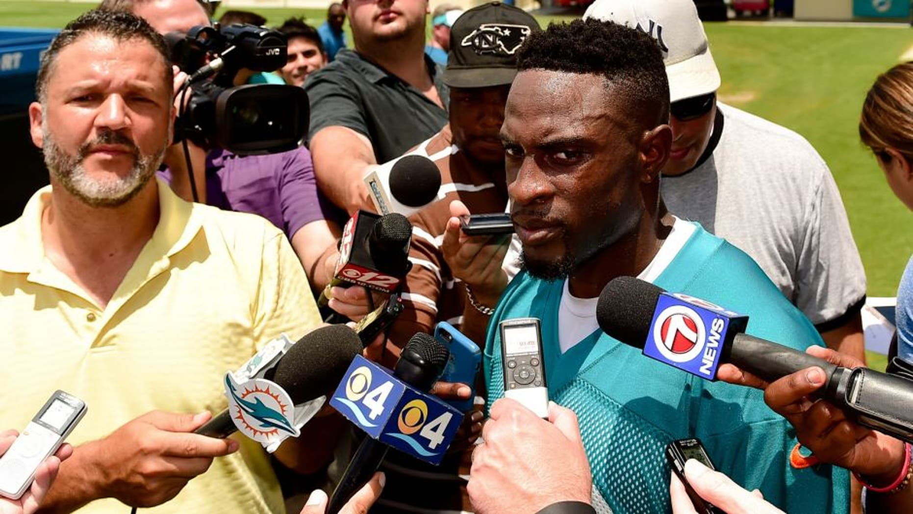 coJun 14, 2016; Miami Gardens, FL, USA; Miami Dolphins corner back Ifo-Ekpre-Olomu (33) talks with reporters after practice at Baptist Health Training Facility at Nova South. Mandatory Credit: Steve Mitchell-USA TODAY Sports