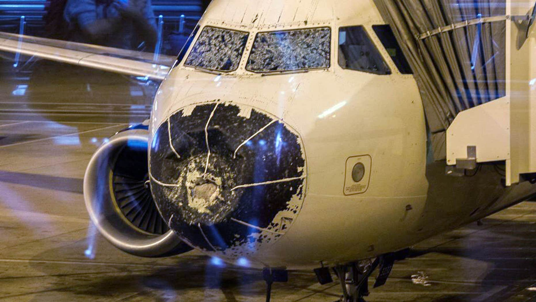 Aug. 7, 2015: This photo provided by Beau Sorensen shows the damage done by hail to the nose cone and windshield of a Delta flight.