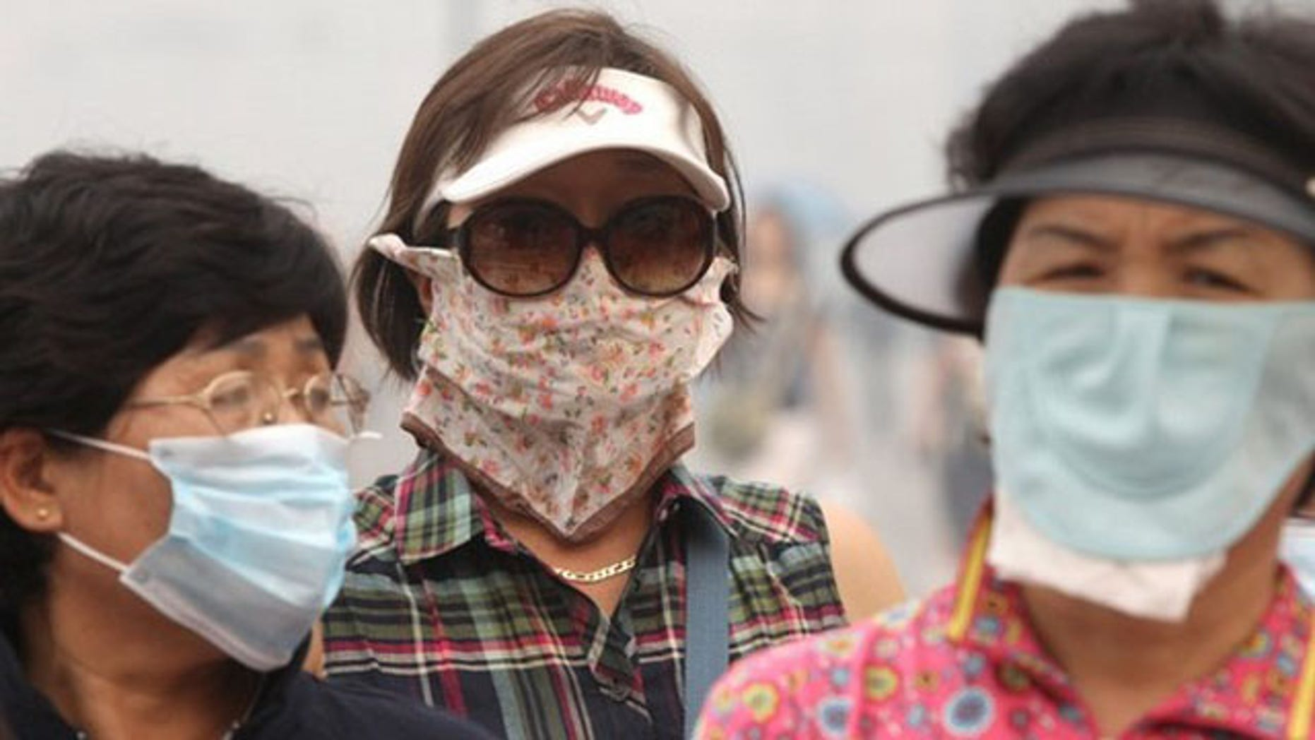 Tourists, wearing masks to protect themselves from the smell of heavy smog caused by peat fires in nearby forests, walk in central Moscow August 9, 2010. The death rate in Moscow has doubled as wildfires have blanketed the capital with toxic smoke amid Russia's worst heatwave in over a century, Interfax cited the city's health department chief as saying on Monday (Reuters).