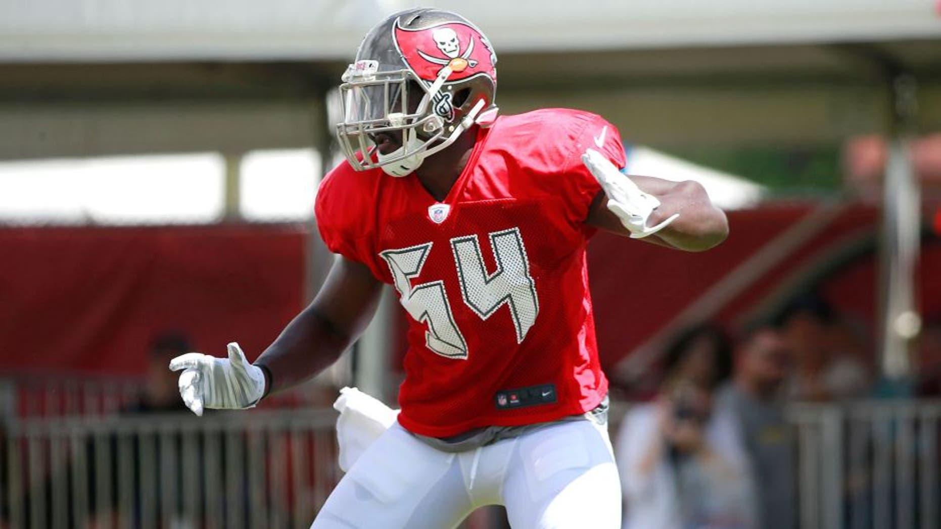 Aug 6, 2015; Tampa Bay, FL, USA; Tampa Bay Buccaneers outside linebacker Lavonte David (54) works out during training camp at One Buc Place. Mandatory Credit: Kim Klement-USA TODAY Sports