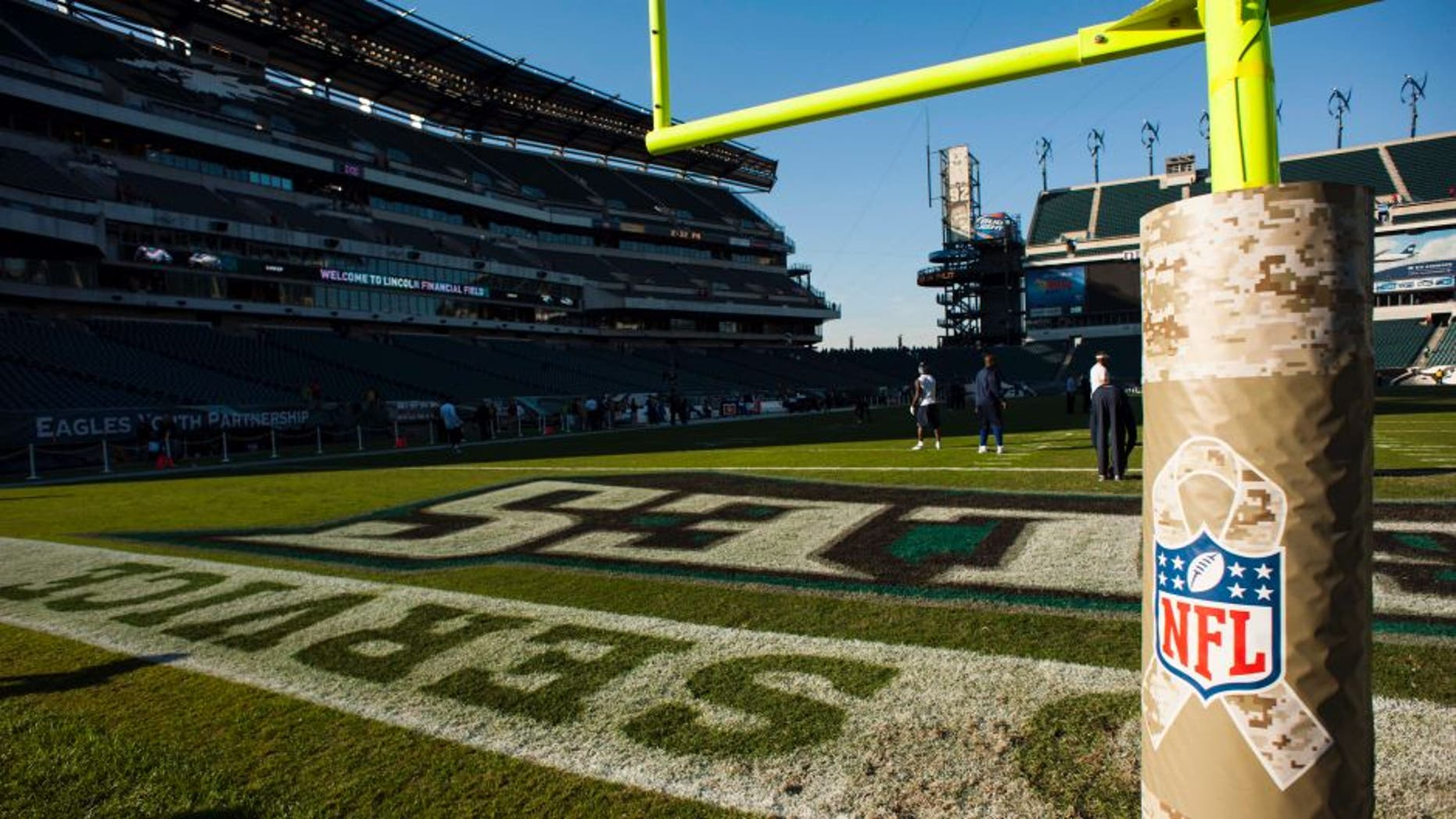 Nov 11, 2012; Philadelphia, PA, USA; The NFL salute to service logo on the end zone padding prior to the game between the Philadelphia Eagles and the Dallas Cowboys at Lincoln Financial Field. Mandatory Credit: Howard Smith-USA TODAY Sports