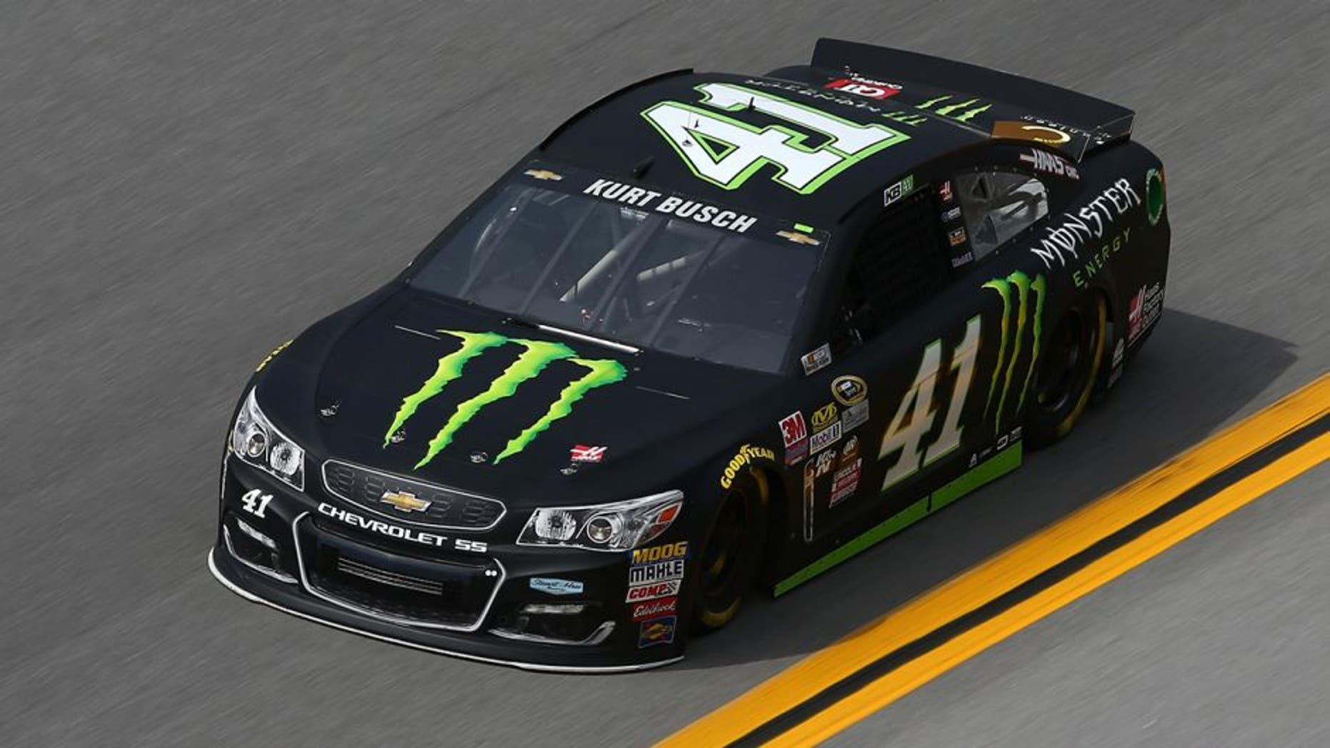 TALLADEGA, AL - APRIL 29: Kurt Busch, driver of the #41 Monster Energy Chevrolet, practices for the NASCAR Sprint Cup Series GEICO 500 at Talladega Superspeedway on April 29, 2016 in Talladega, Alabama. (Photo by Sarah Crabill/NASCAR via Getty Images)