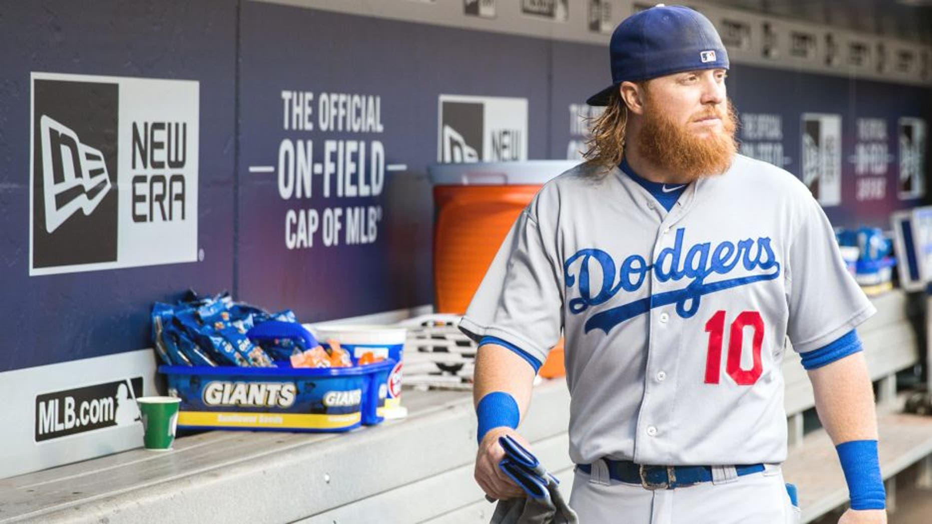 NEW YORK - JULY 24: Justin Turner #10 of the Los Angeles Dodgers looks on before the game against the New York Mets at Citi Field on July 24, 2015 in the Queens borough of New York City. (Photo by Rob Tringali/SportsChrome/Getty Images)