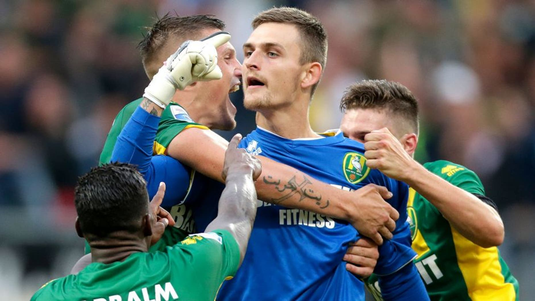 Martin Hansen of ADO Den Haag during the Dutch Eredivisie match between ADO Den Haag and PSV Eindhoven at Kyocera stadium on August 11, 2015 in The Hague, The Netherlands(Photo by VI Images via Getty Images)