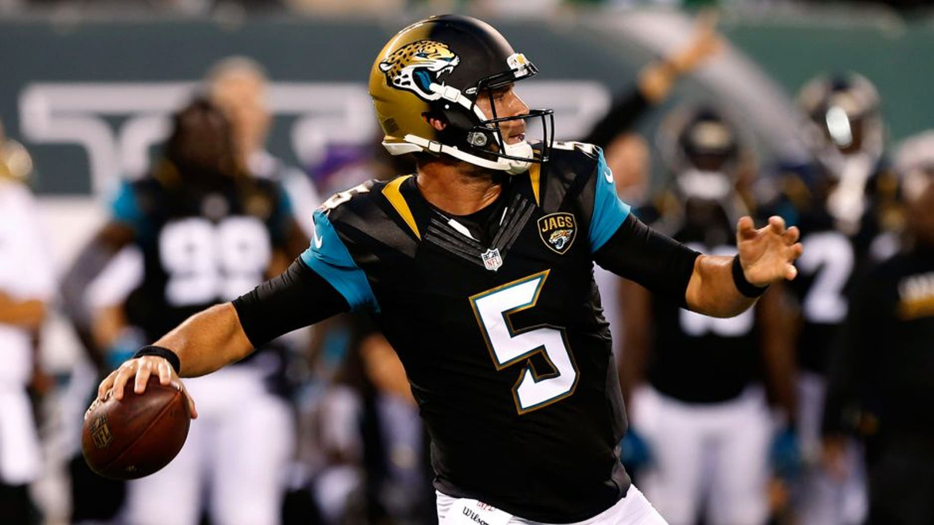 Aug 11, 2016; East Rutherford, NJ, USA; Jacksonville Jaguars quarterback Blake Bortles (5) drops back to pass against the New York Jets during first half at MetLife Stadium. Mandatory Credit: Noah K. Murray-USA TODAY Sports