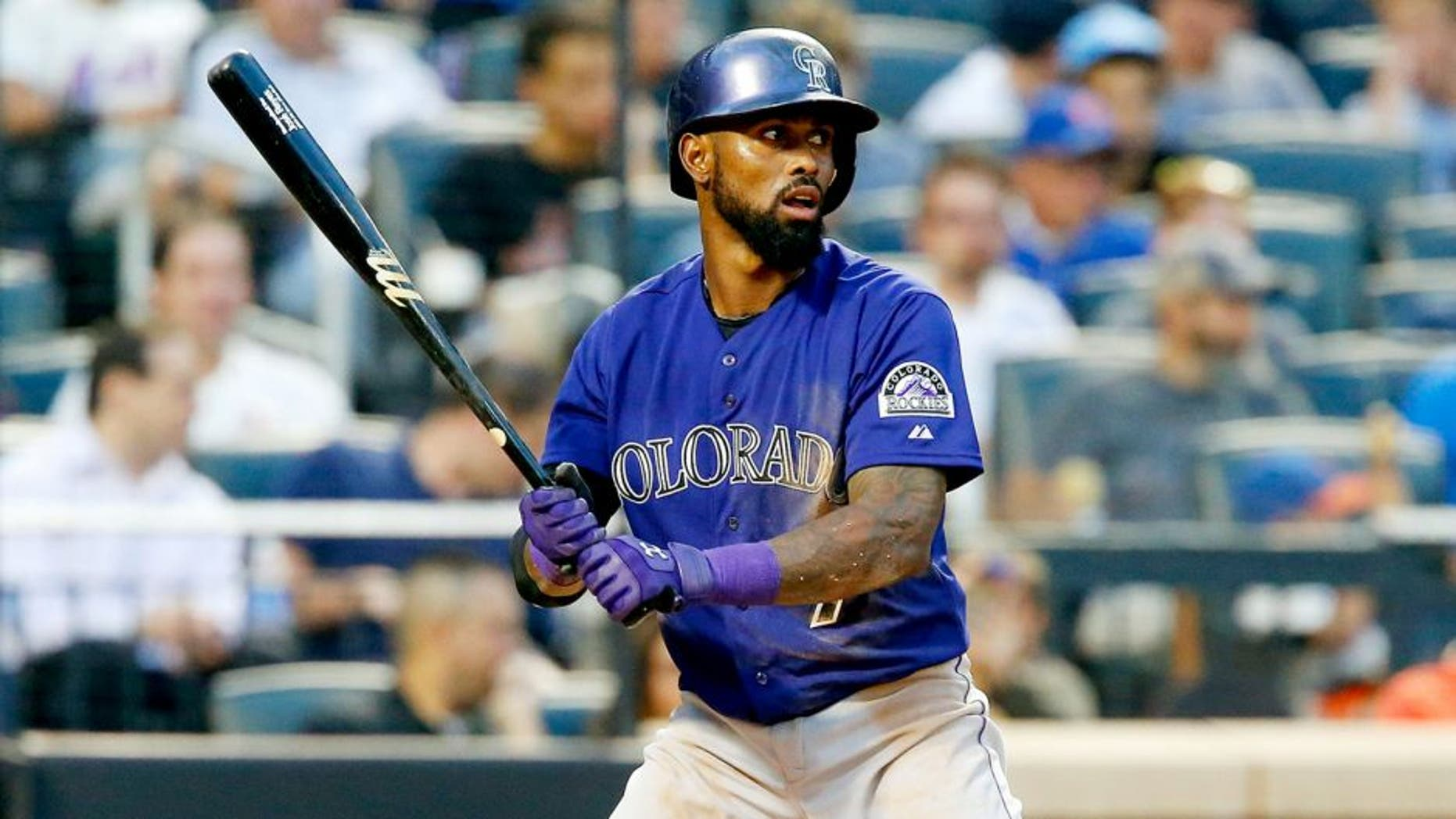 NEW YORK, NY - AUGUST 10: (NEW YORK DAILIES OUT) Jose Reyes #7 of the Colorado Rockies in action against the New York Mets at Citi Field on August 10, 2015 in the Flushing neighborhood of the Queens borough of New York City. The Mets defeated the Rockies 4-2. (Photo by Jim McIsaac/Getty Images)