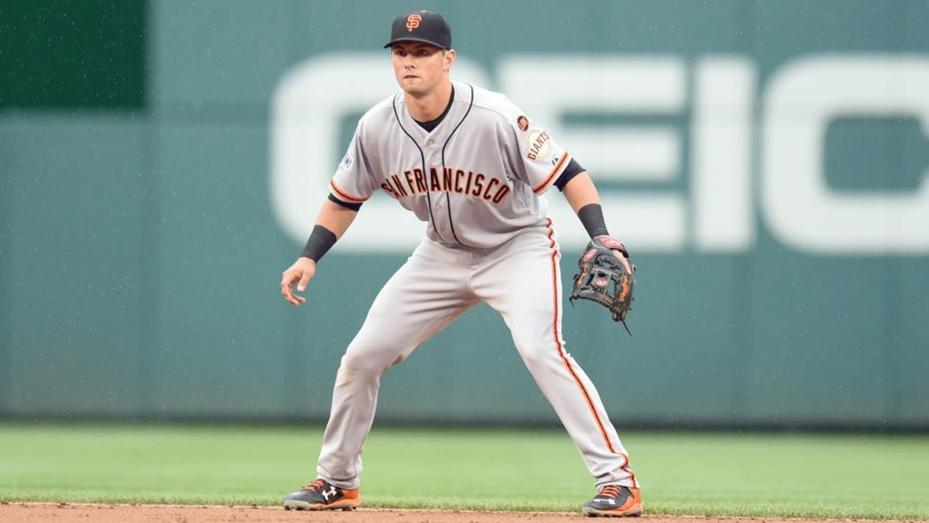 WASHINGTON, DC - JULY 03: Joe Panik #12 of the San Francisco Giants in position during a baseball game against the Washington Nationals at Nationals Park on July 03, 2015 in Washington, DC. The Nationals won 2-1. (Photo by Mitchell Layton/Getty Images)