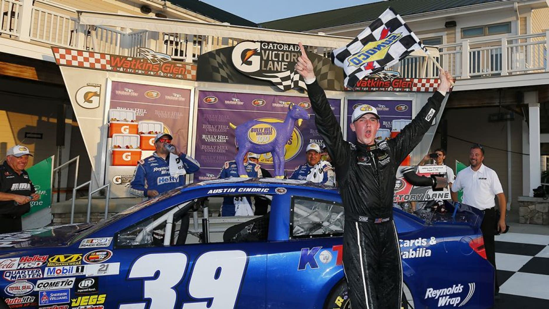 WATKINS GLEN, NY - AUGUST 05: Austin Cindric, driver of the #39 Reynolds Wrap Toyota, celebrates in victory lane after winning the NASCAR K&N Pro East Series Bully Hill Vineyards 100 at Watkins Glen International on August 5, 2016 in Watkins Glen, New York. (Photo by Jonathan Ferrey/NASCAR via Getty Images)