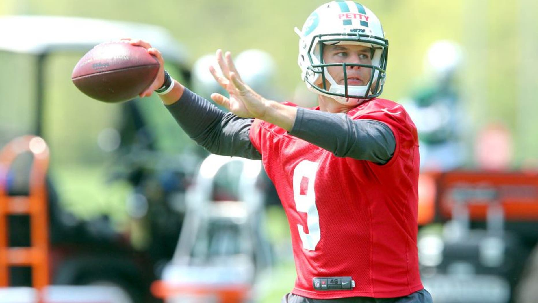 May 8, 2015; Florham Park, NY, USA; New York Jets quarterback Bryce Petty (9) drops back to pass during rookie minicamp at the Atlantic Health Jets Training Center. Mandatory Credit: Brad Penner-USA TODAY Sports