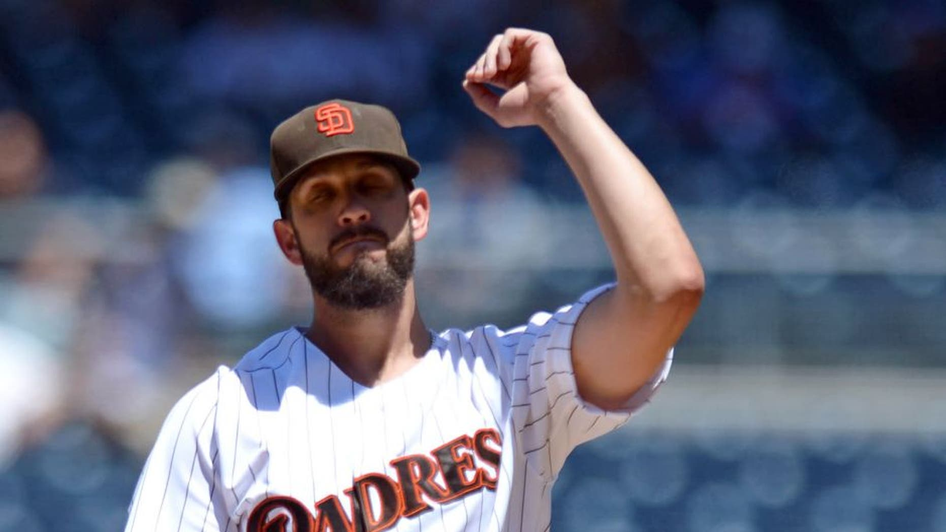 Aug 12, 2015; San Diego, CA, USA; San Diego Padres starting pitcher James Shields (33) reacts after committing a balk that allowed a run against the Cincinnati Reds during the third inning at Petco Park. Mandatory Credit: Jake Roth-USA TODAY Sports