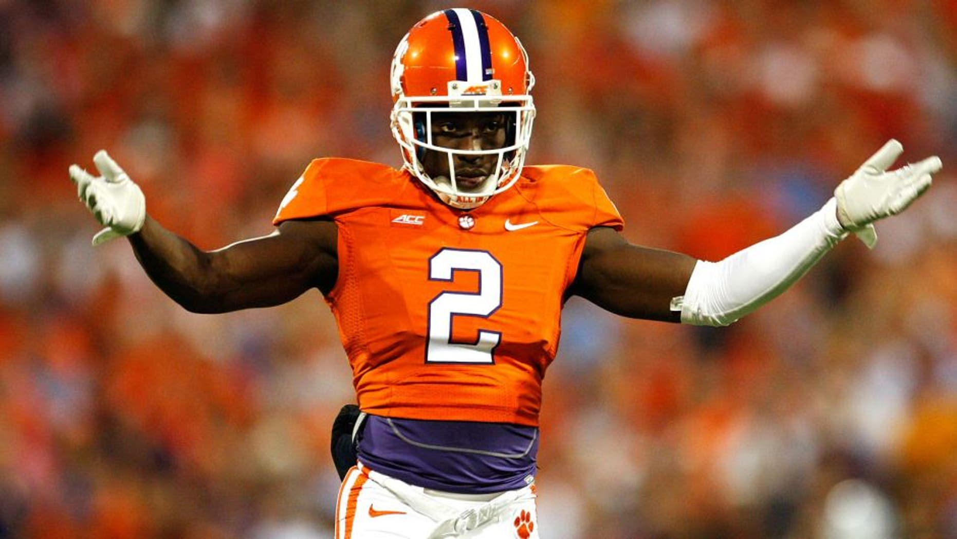 CLEMSON, SC - SEPTEMBER 27: Mackensie Alexander #2 of the Clemson Tigers pumps up the crowd during the game against the North Carolina Tar Heels at Memorial Stadium on September 27, 2014 in Clemson, South Carolina. (Photo by Tyler Smith/Getty Images)
