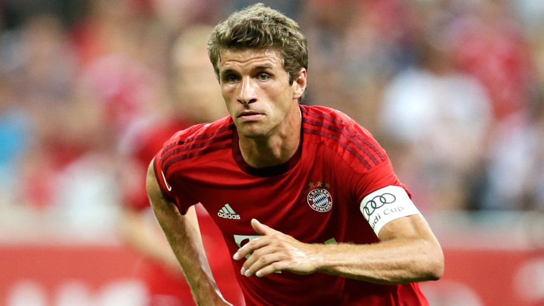 Thomas Muller of FC Bayern Munchen during the AUDI Cup match between FC Bayern Munich and AC Milan on August 4, 2015 at the Allianz Arena in Munich, Germany(Photo by VI Images via Getty Images)