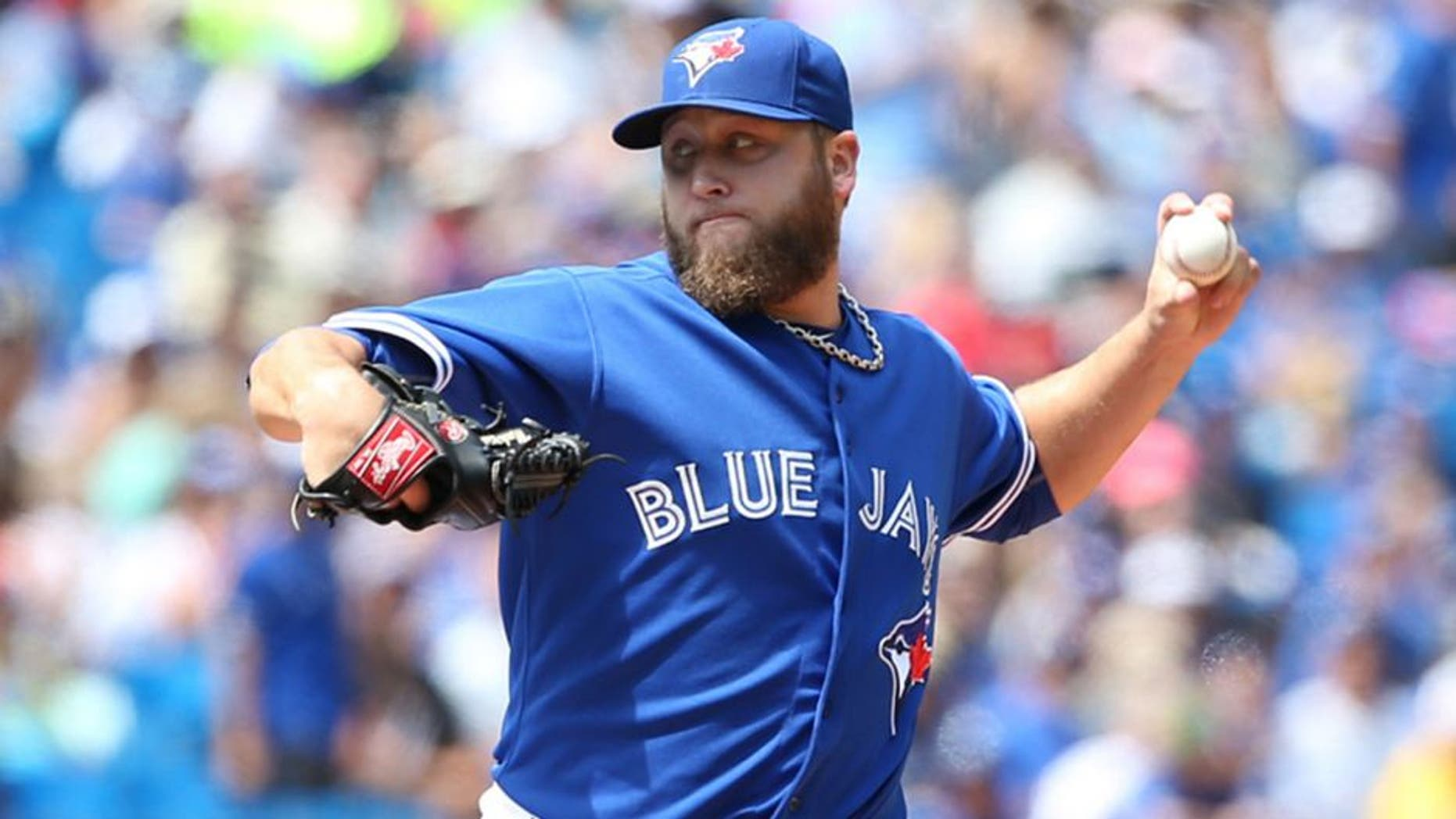 TORONTO, ON- AUGUST 13 Toronto Blue Jays vs Oakland Athletics August 13, 2015 .Toronto Blue Jays Mark Buehrle pitches against the Oakland Athletics at the Rogers Centre. (Vince Talotta/Toronto Star via Getty Images)