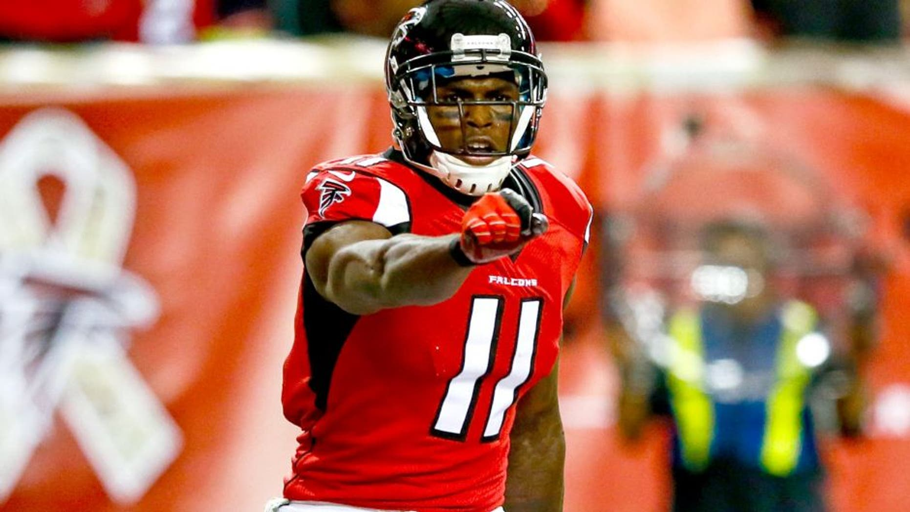 ATLANTA, GA - NOVEMBER 23: Julio Jones #11 of the Atlanta Falcons celebraes a touchdown in the first half against the Cleveland Browns at Georgia Dome on November 23, 2014 in Atlanta, Georgia. (Photo by Kevin C. Cox/Getty Images)