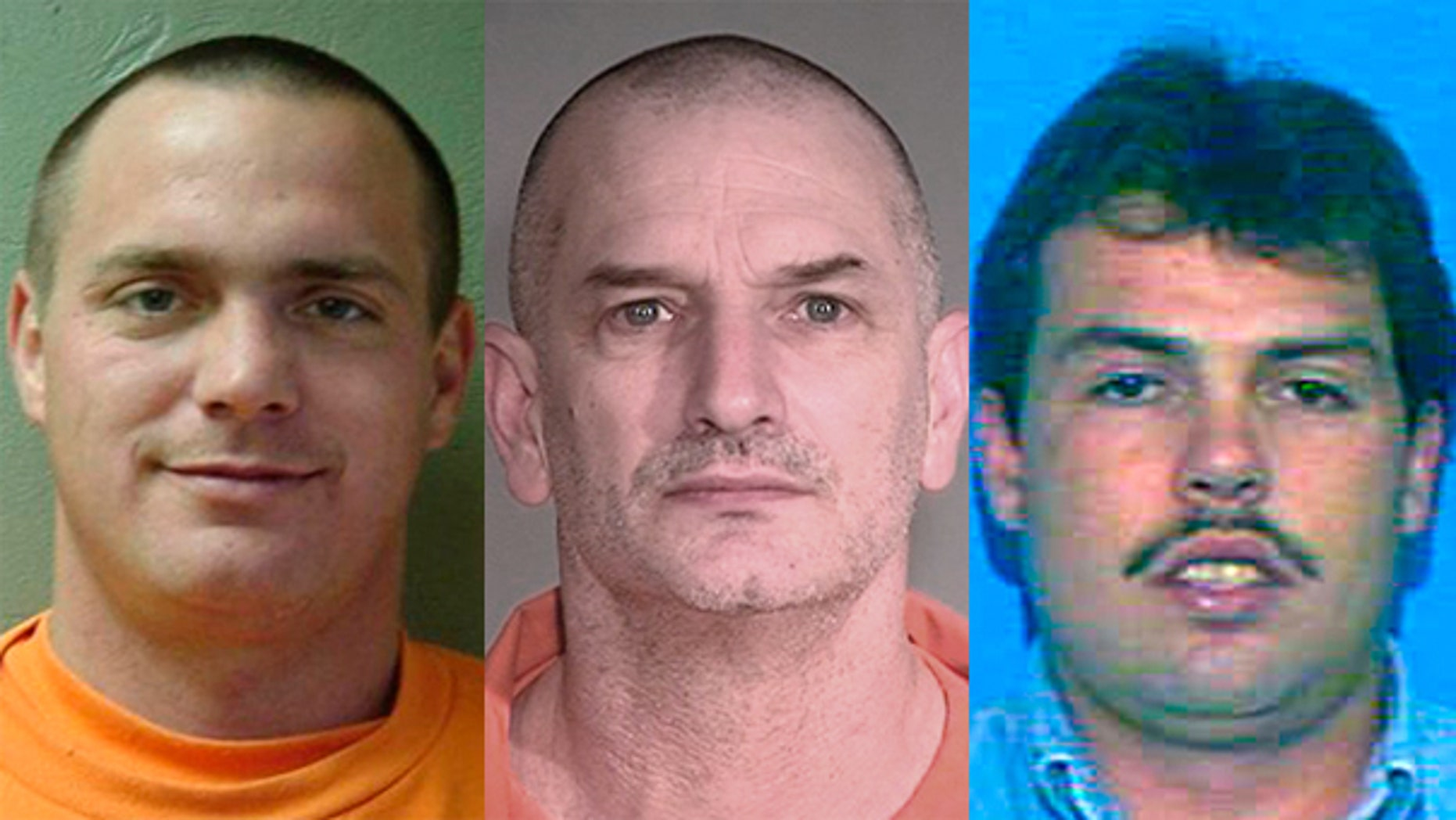 In this combination of undated photos provided by the Mohave County Sheriff's Office, Tracy Province, left, John McCluskey, center, Daniel Renwick are shown. A nationwide manhunt is still on for McCluskey.