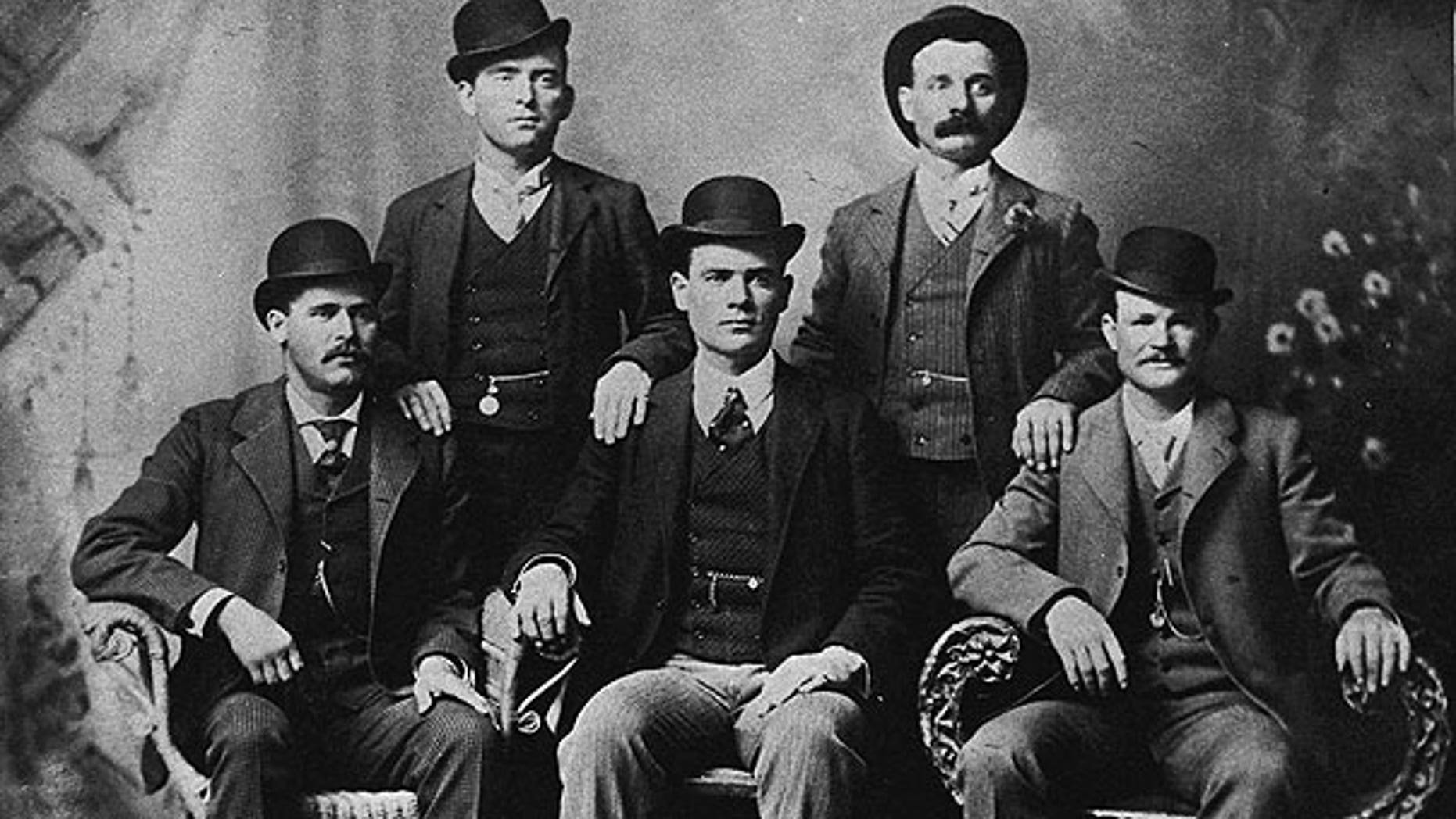 This image provided by the Nevada Historical Society shows the famous group portrait taken in Fort Worth, Texas shortly after Butch Cassidy and his gang robbed the Einnemucca, Nev., bank in 1900.