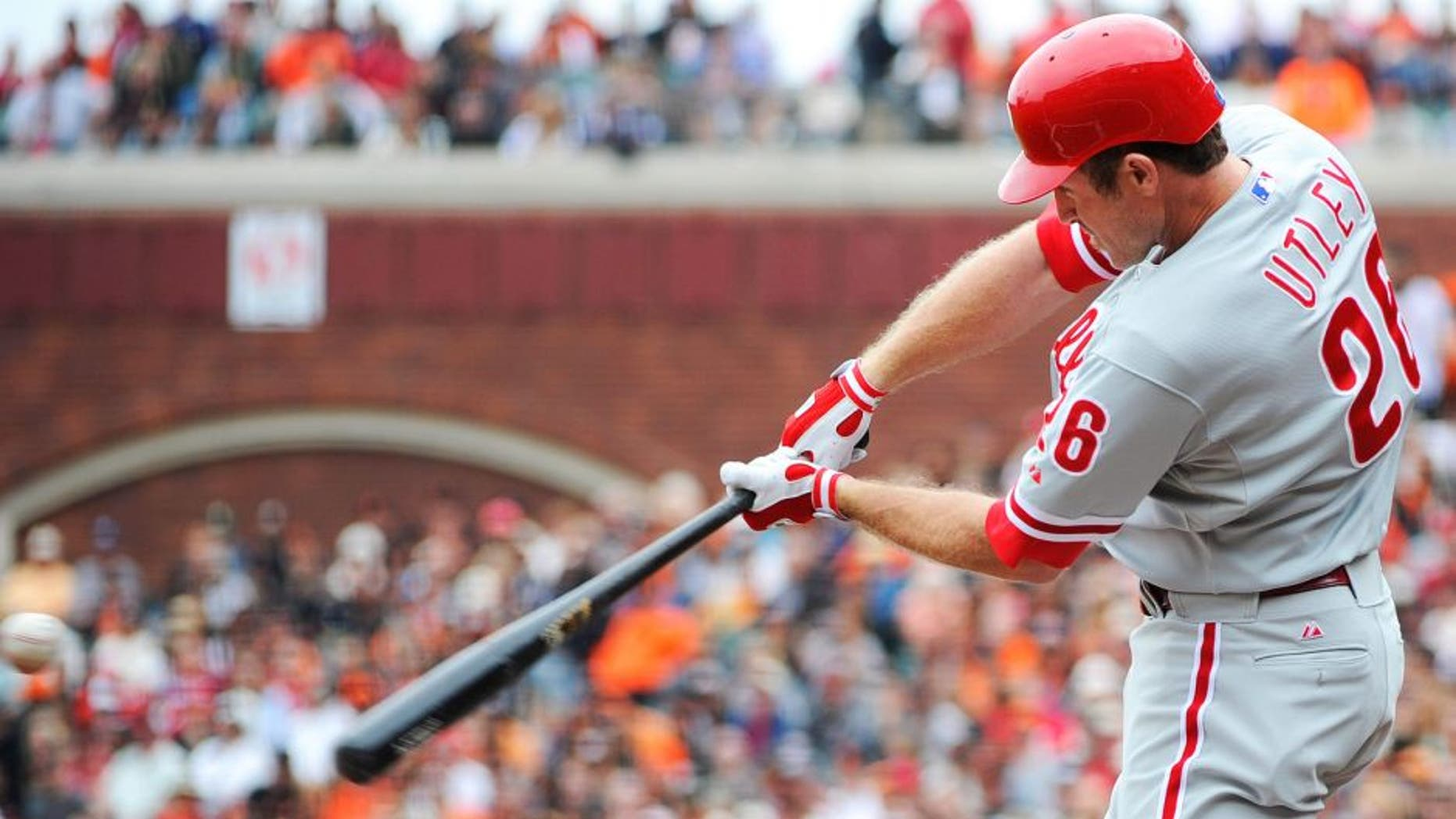 SAN FRANCISCO, CA - AUGUST 7: Chase Utley #26 of the Philadelphia Phillies bats against the San Francisco Giants during an MLB baseball game at AT&T Park August 7, 2011 in San Francisco, California. The Giants won the game 3-1. (Photo by Thearon W. Henderson/Getty Images)