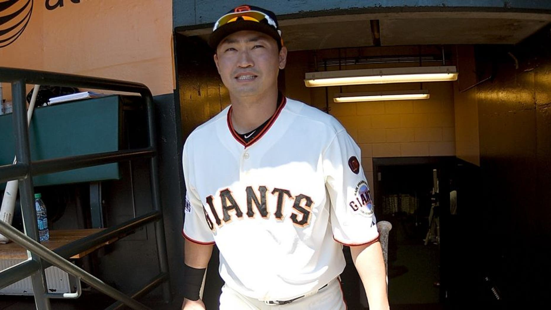 SAN FRANCISCO, CA - AUGUST 12: Nori Aoki #23 of the San Francisco Giants walks up the stairs into the dugout prior to the start of the game against the Houston Astros at AT&T Park on August 12, 2015 in San Francisco, California. (Photo by Thearon W. Henderson/Getty Images)