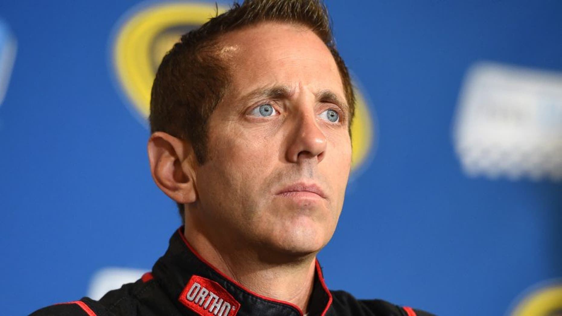 BROOKLYN, MI - AUGUST 14: Greg Biffle, driver of the #16 Ortho Ford, holds a press conference before practice for the NASCAR Sprint Cup Series Pure Michigan 400 at Michigan International Speedway on August 14, 2015 in Brooklyn, Michigan. (Photo by Josh Hedges/Getty Images)