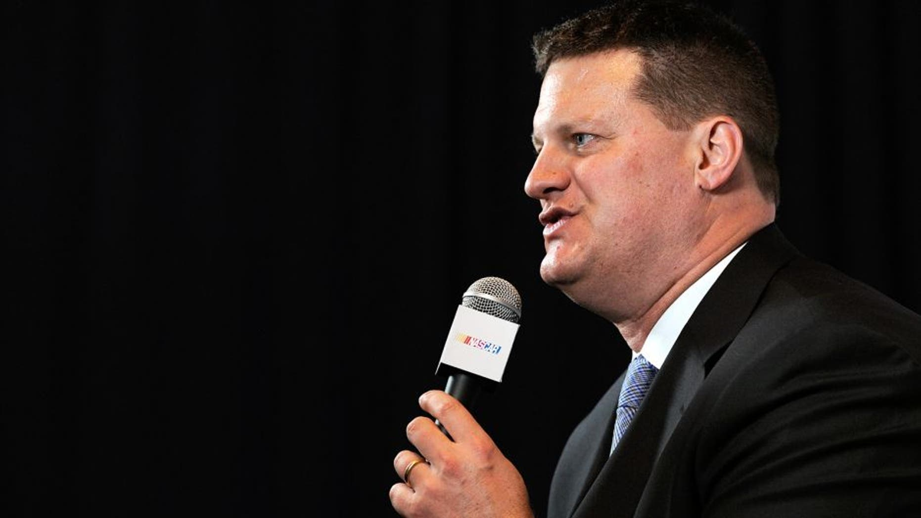 CHARLOTTE, NC - JANUARY 26: Steve O'Donnell, executive vice president & chief racing development officer for NASCAR, speaks with the media during the NASCAR Sprint Media Tour at the Charlotte Convention Center on January 26, 2015 in Charlotte, North Carolina. (Photo by Jared C. Tilton/NASCAR via Getty Images)