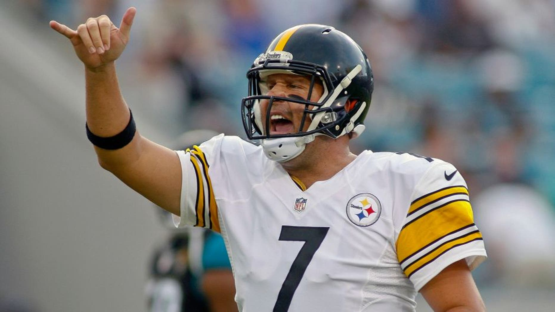 Aug 14, 2015; Jacksonville, FL, USA; Pittsburgh Steelers quarterback Ben Roethlisberger (7) signals to his team mates they are going for a two-point conversion in the first quarter of a preseason NFL football game against the Jacksonville Jaguars at EverBank Field. Mandatory Credit: Phil Sears-USA TODAY Sports