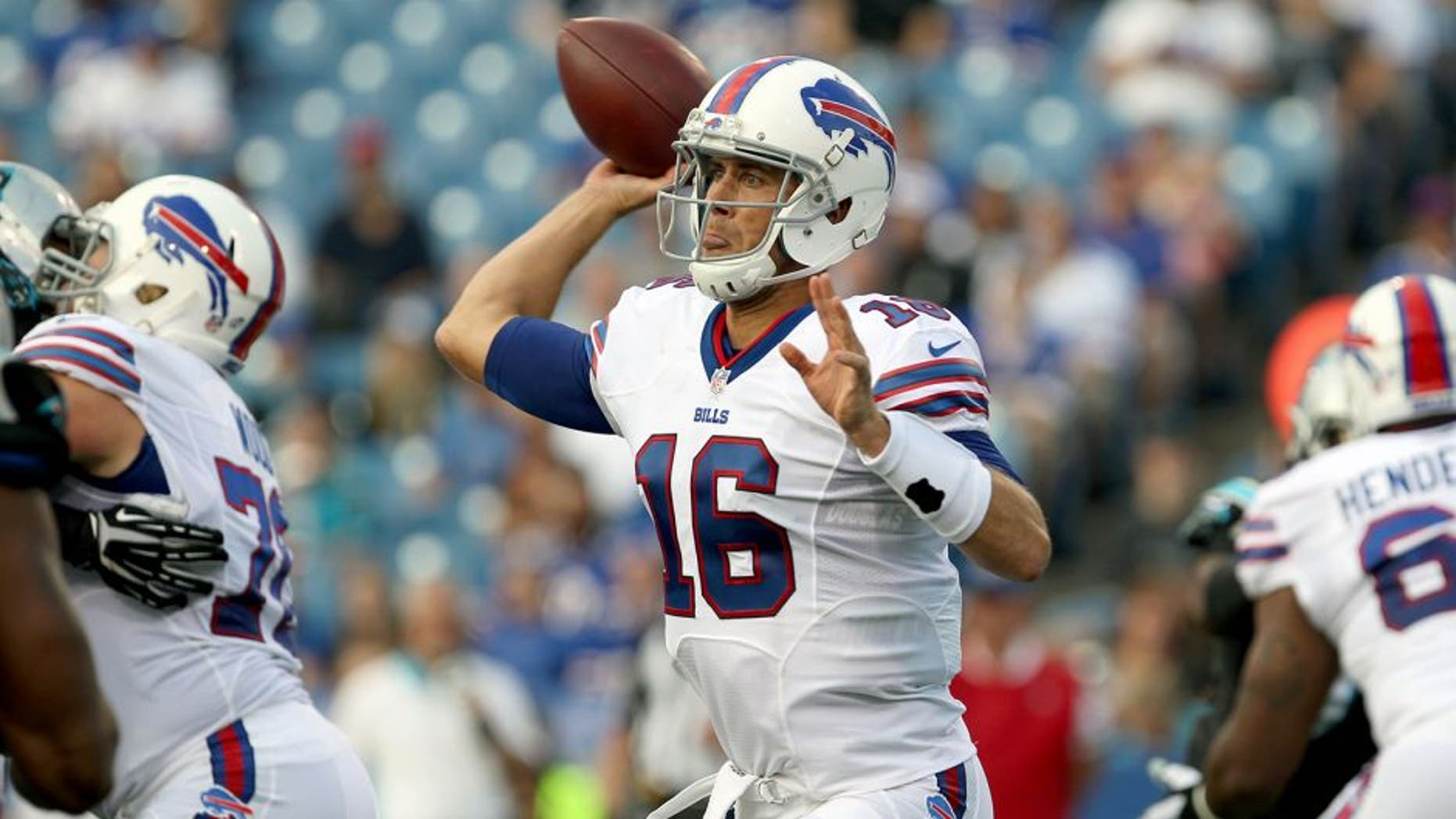 Aug 14, 2015; Orchard Park, NY, USA; Buffalo Bills quarterback Matt Cassel (16) looks to make a pass attempt during the first quarter against the Carolina Panthers in a preseason NFL football game at Ralph Wilson Stadium. Mandatory Credit: Timothy T. Ludwig-USA TODAY Sports