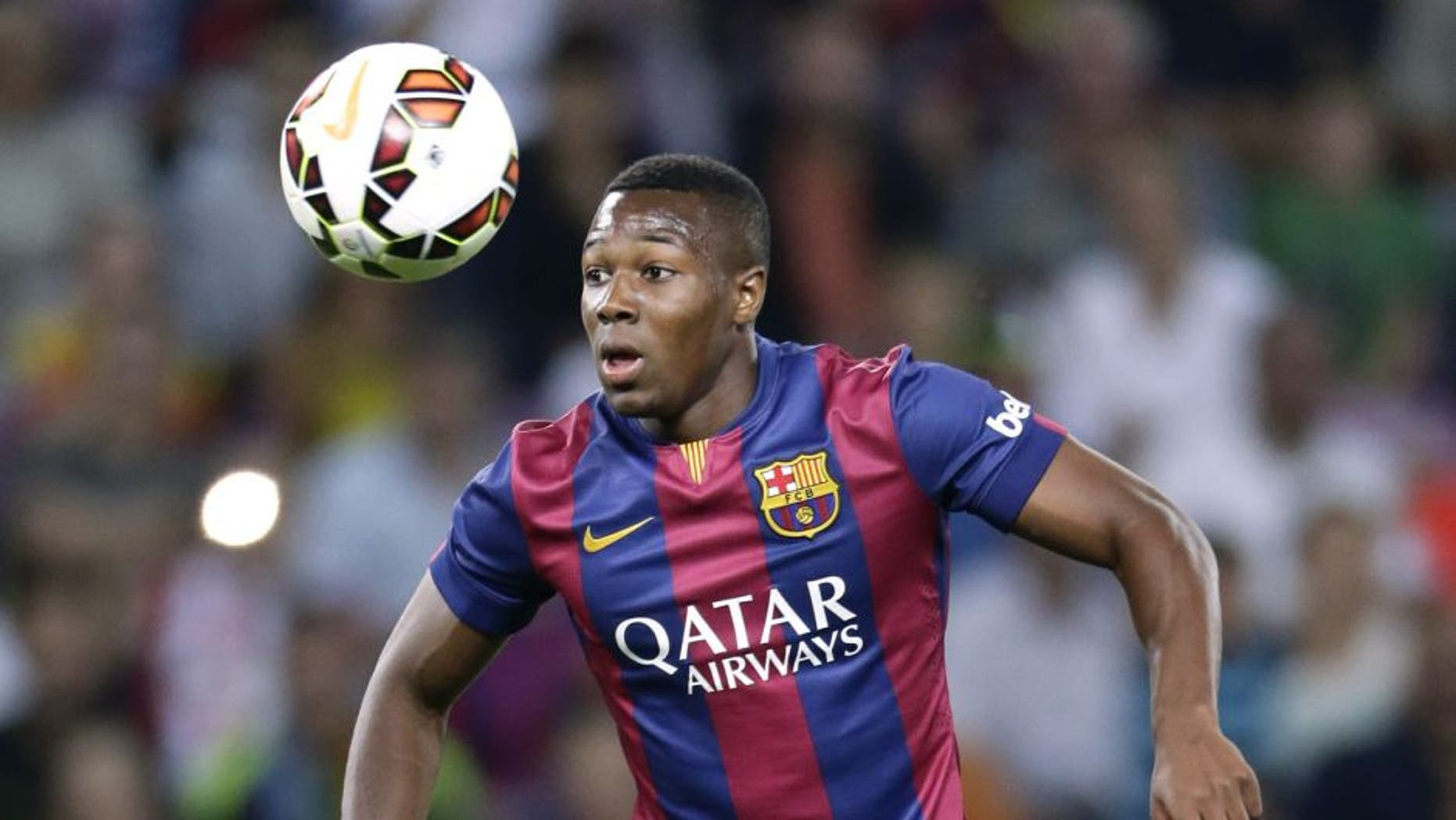 Adama Traore of FC Barcelona during the friendly match between Napoli and FC Barcelona at Stade de Geneve on august 6, 2014 in Geneva, Switzerland(Photo by VI Images via Getty Images)