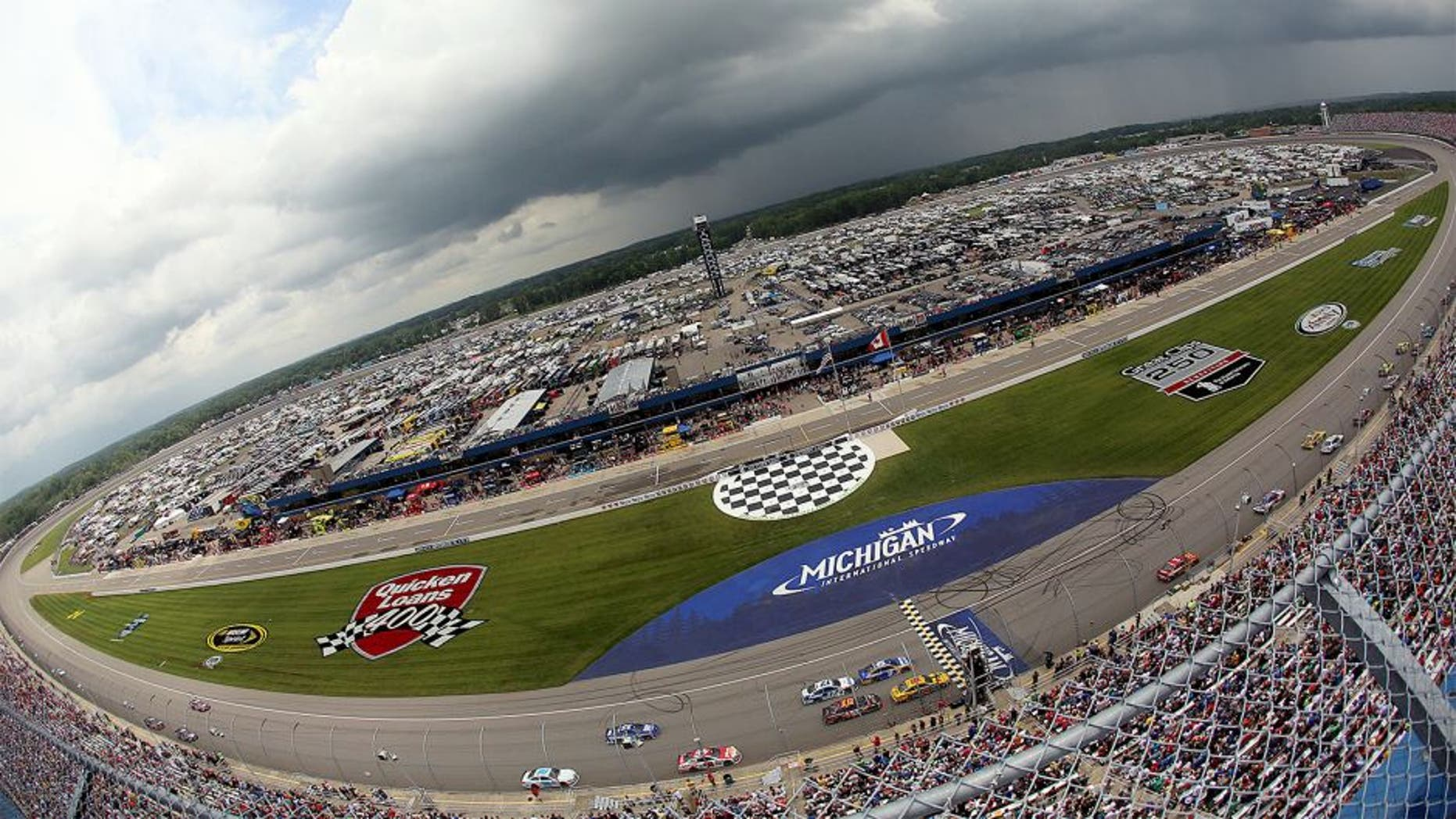 BROOKLYN, MI - JUNE 14: A general view of the NASCAR Sprint Cup Series Quicken Loans 400 at Michigan International Speedway on June 14, 2015 in Brooklyn, Michigan. (Photo by Rey Del Rio/Getty Images)