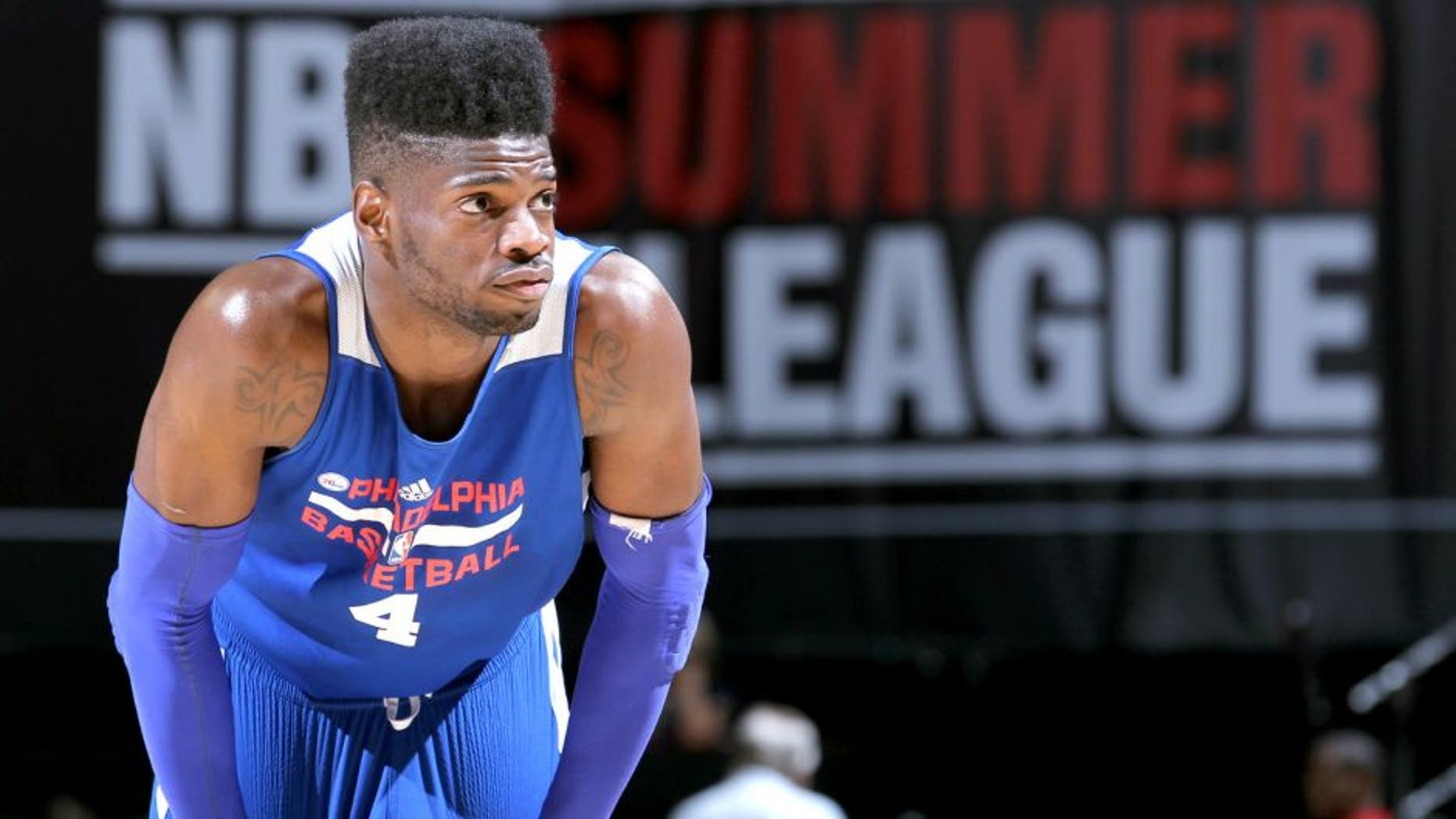 LAS VEGAS, NV - JULY 16: Nerlens Noel #4 of the Philadelphia 76ers during the game against the Chicago Bulls on July 16, 2014 at the Cox Pavilion in Las Vegas, Nevada. NOTE TO USER: User expressly acknowledges and agrees that, by downloading and or using this photograph, User is consenting to the terms and conditions of the Getty Images License Agreement. Mandatory Copyright Notice: Copyright 2014 NBAE (Photo by Jack Arent/NBAE via Getty Images)